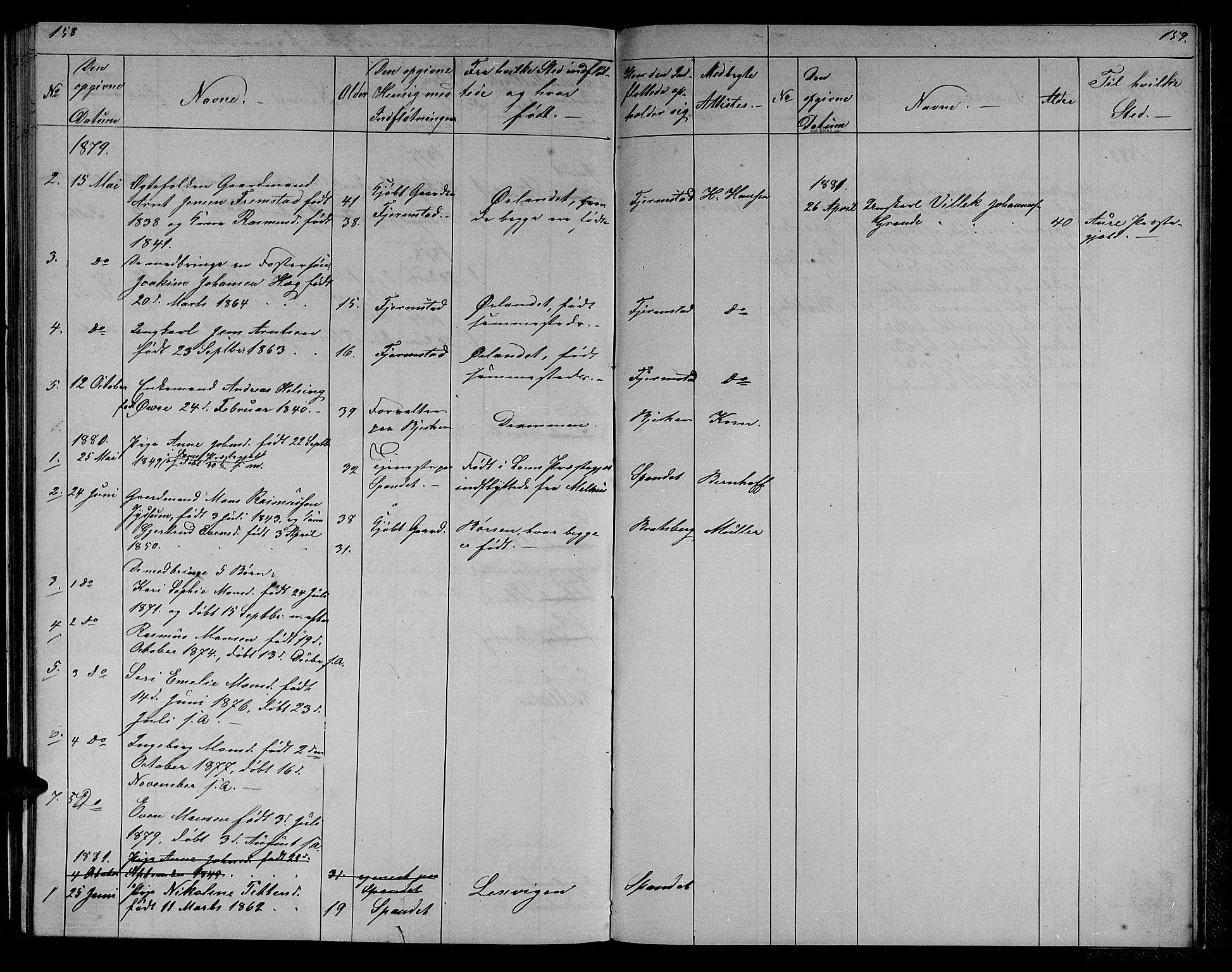 SAT, Ministerialprotokoller, klokkerbøker og fødselsregistre - Sør-Trøndelag, 608/L0340: Klokkerbok nr. 608C06, 1864-1889, s. 158-159