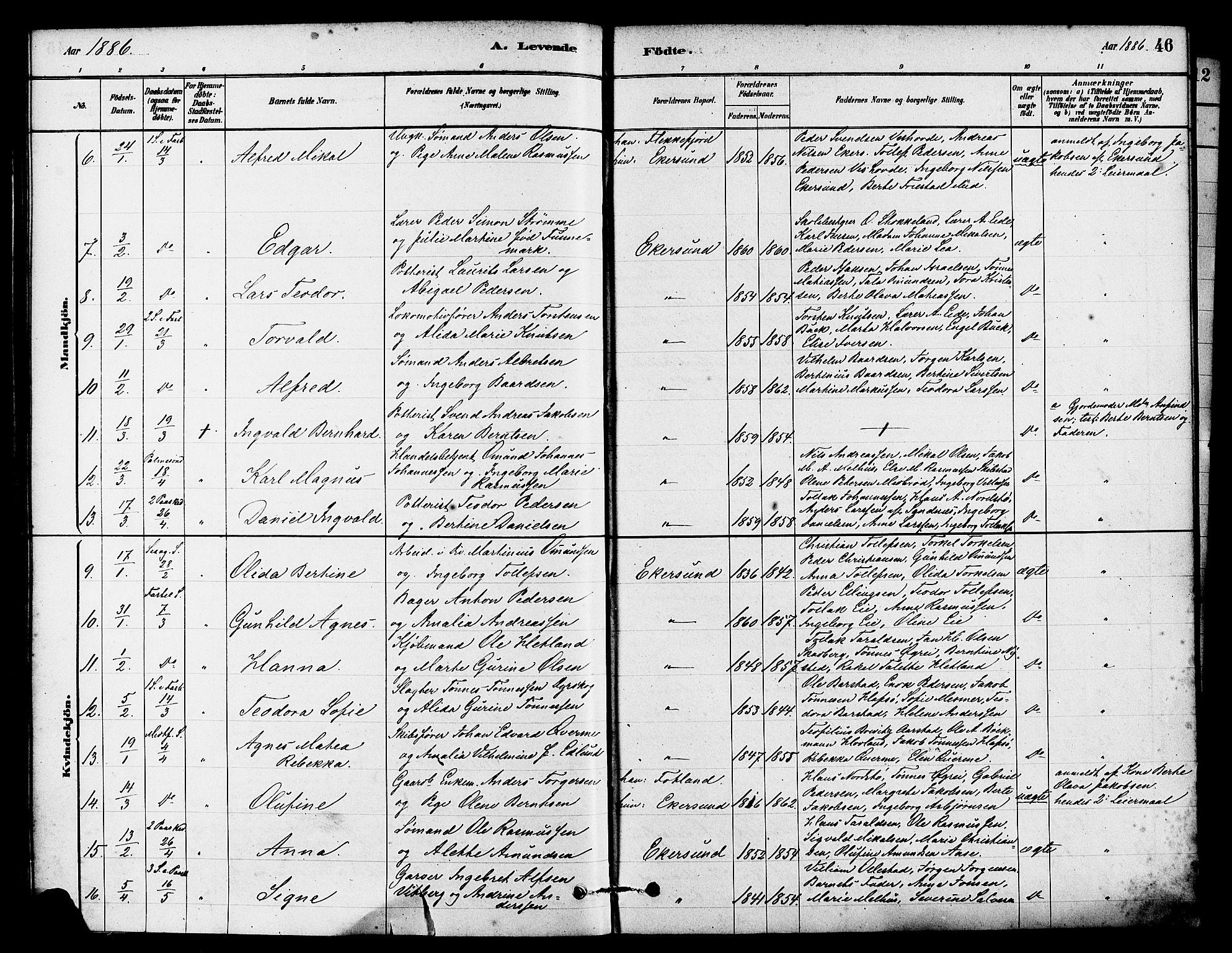 SAST, Egersund sokneprestkontor, Ministerialbok nr. A 15, 1879-1892, s. 46