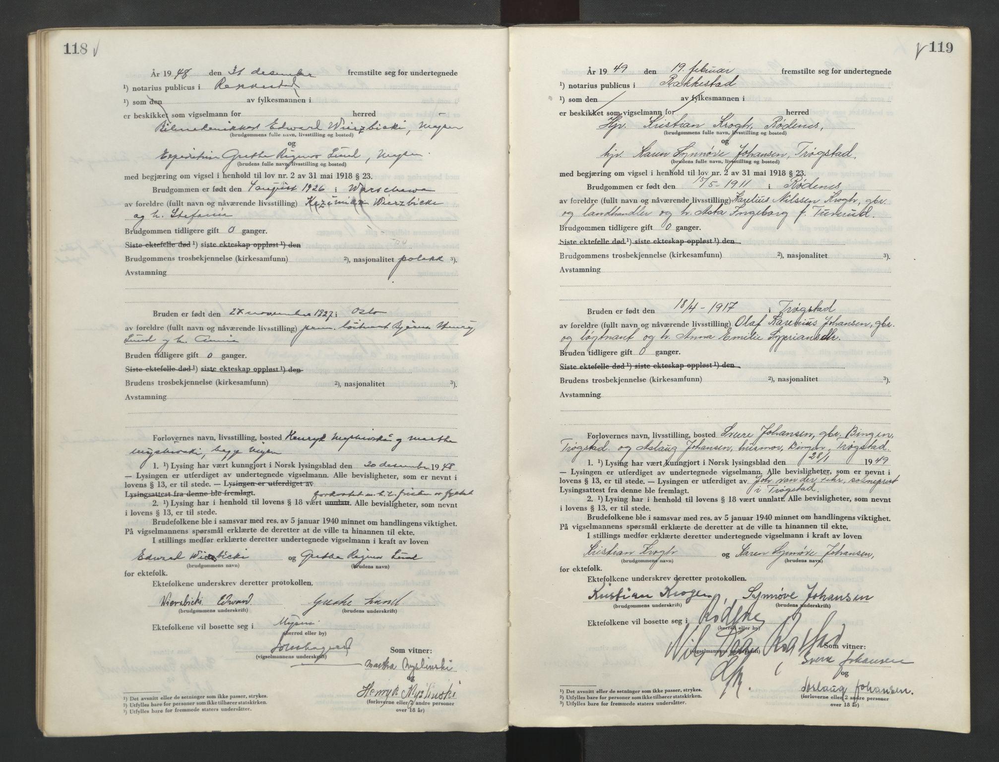SAO, Rakkestad sorenskriveri, L/Lc/Lca/L0005: Vigselbøker, 1945-1951, s. 118-119