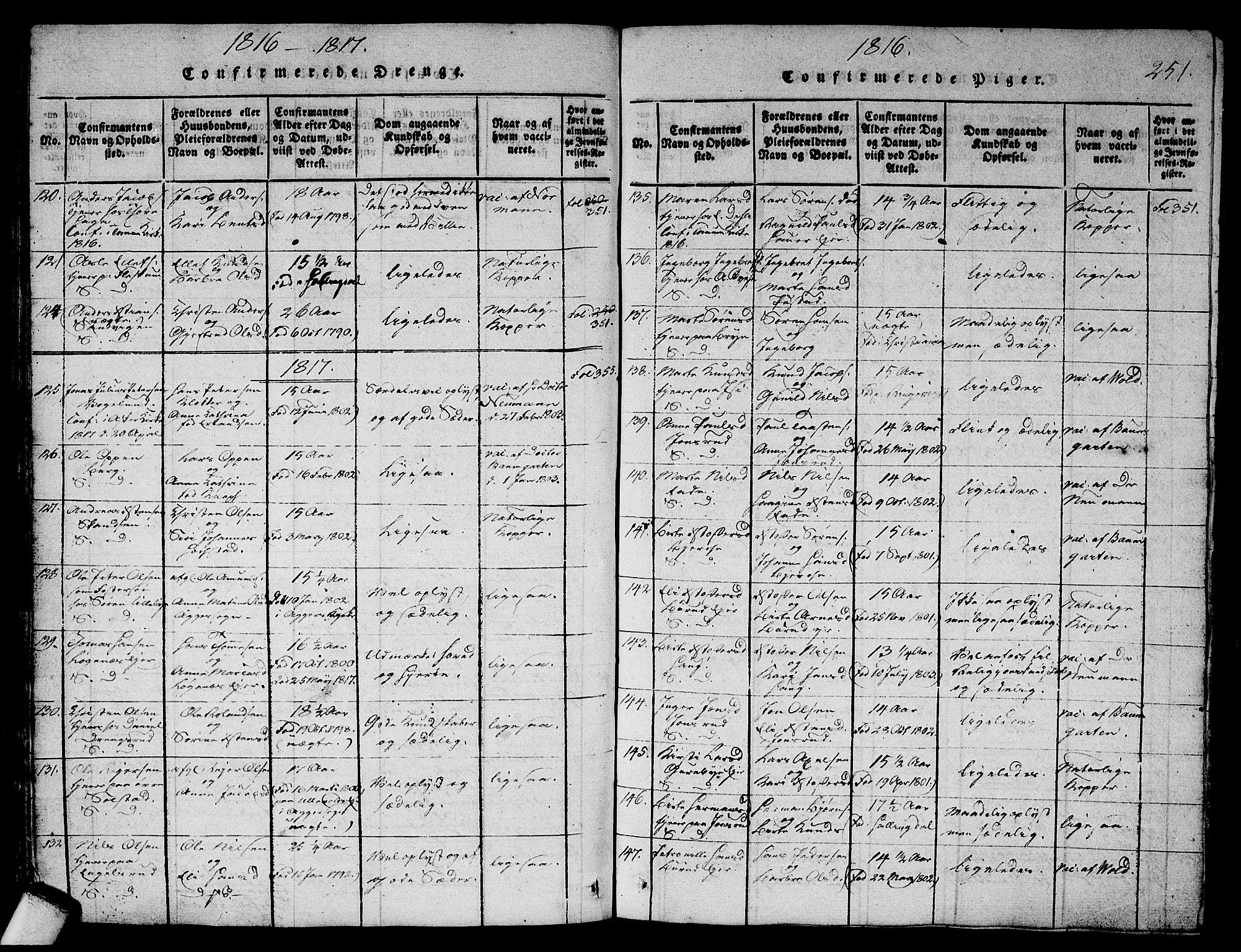 SAO, Asker prestekontor Kirkebøker, G/Ga/L0001: Klokkerbok nr. I 1, 1814-1830, s. 251