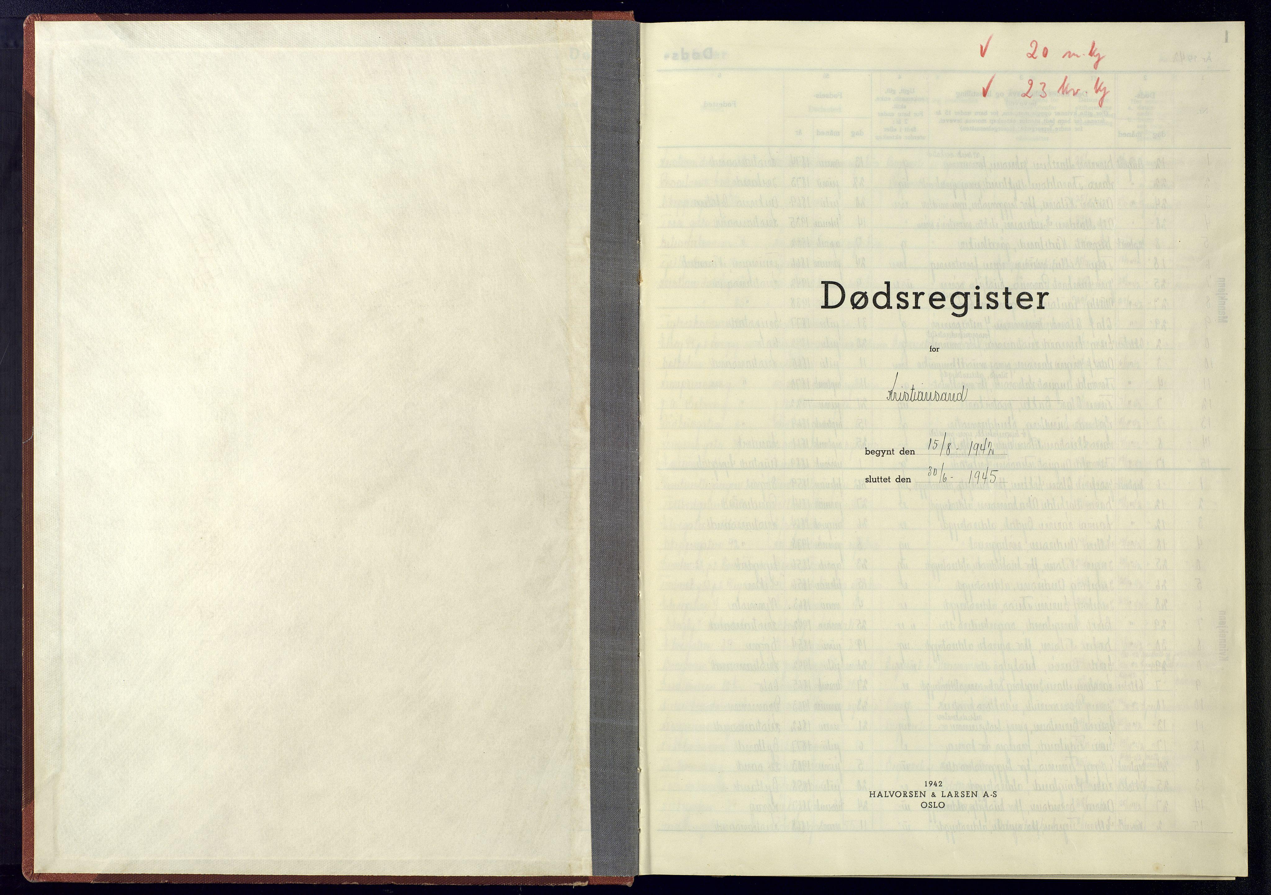 SAK, Kristiansand domprosti, J/Ja/L0004: Dødsfallsregister A-VI-16, 1942-1945