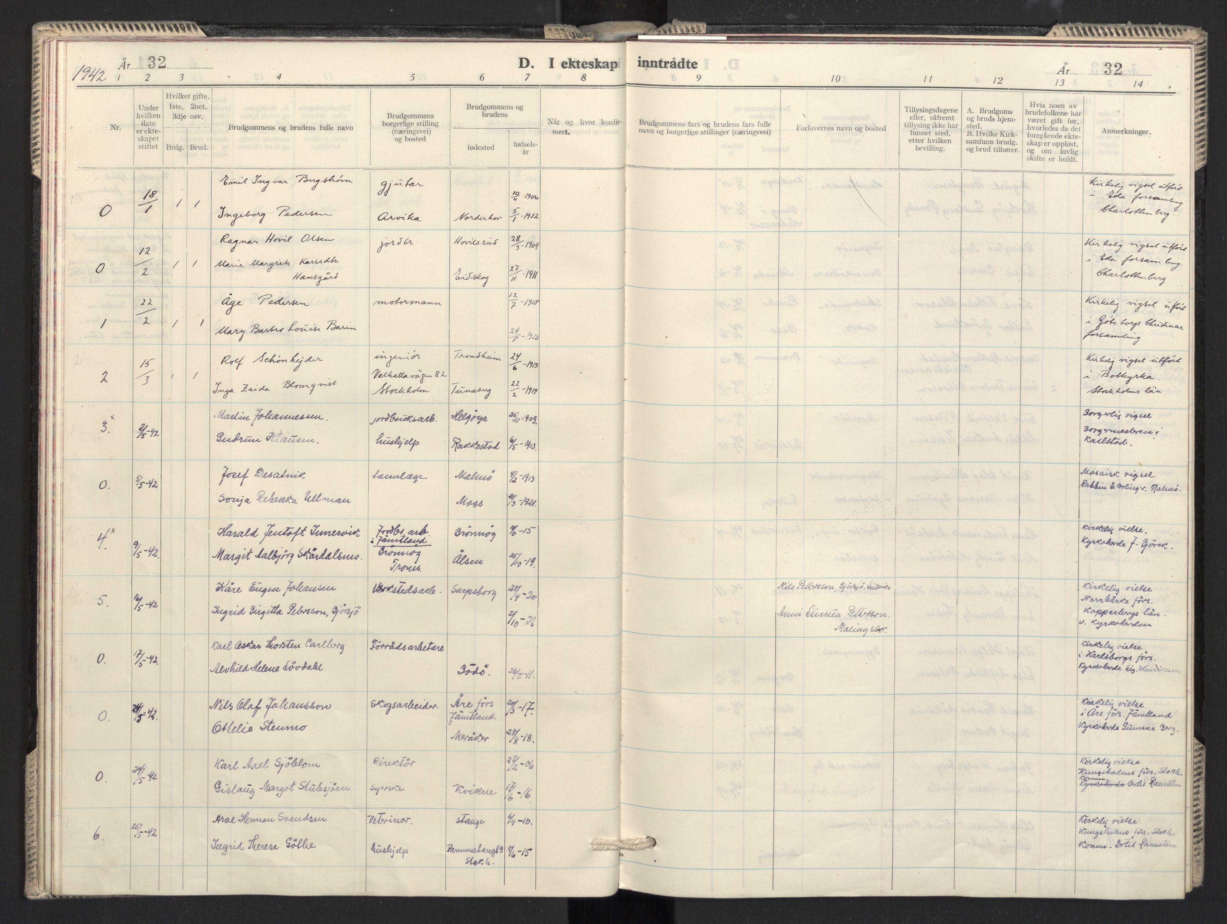 SAO, Prestekontoret i Sverige under okkupasjonen Kirkebøker, F/L0001: Ministerialbok nr. 1, 1941-1945, s. 32