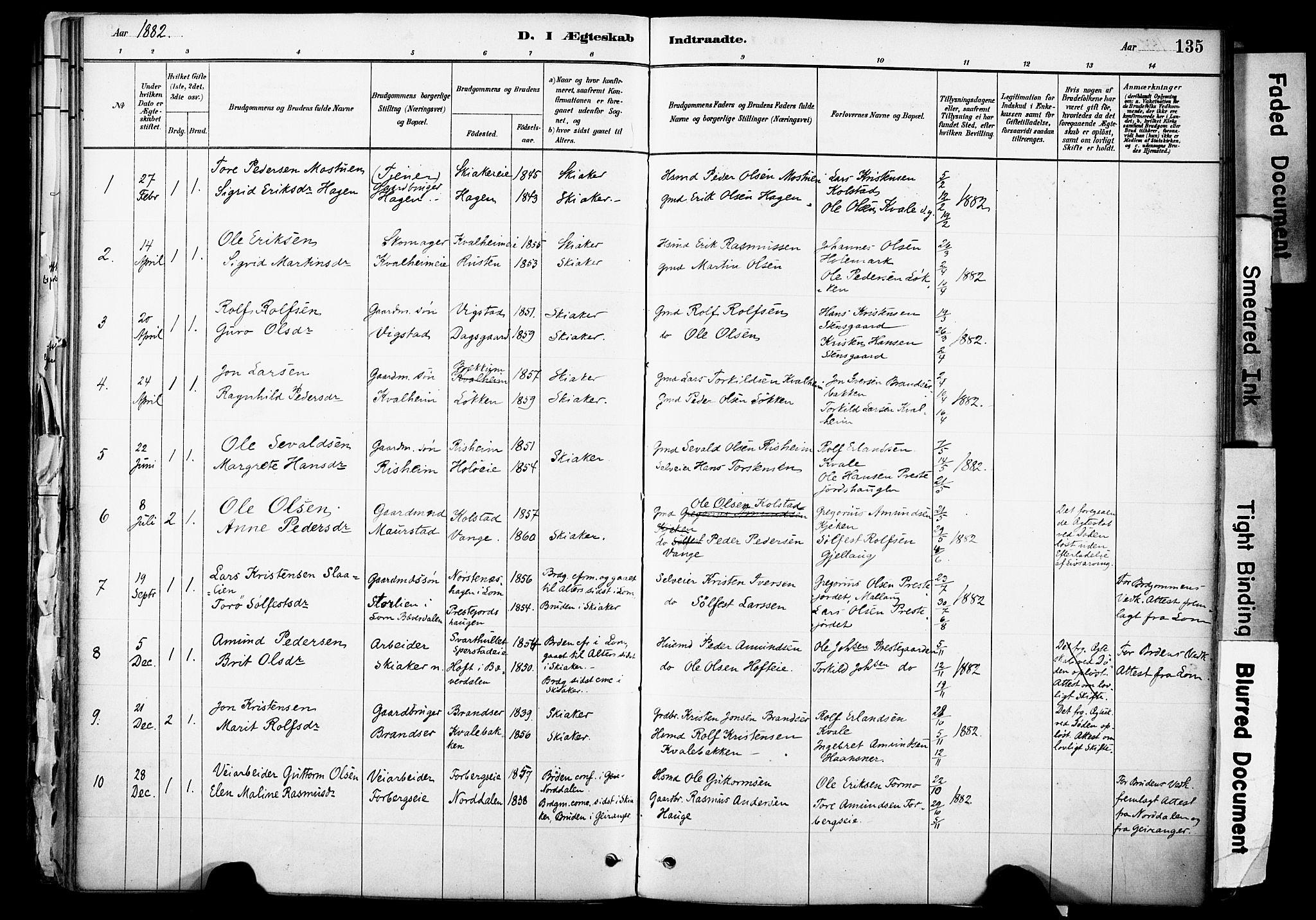 SAH, Skjåk prestekontor, Ministerialbok nr. 3, 1880-1907, s. 135