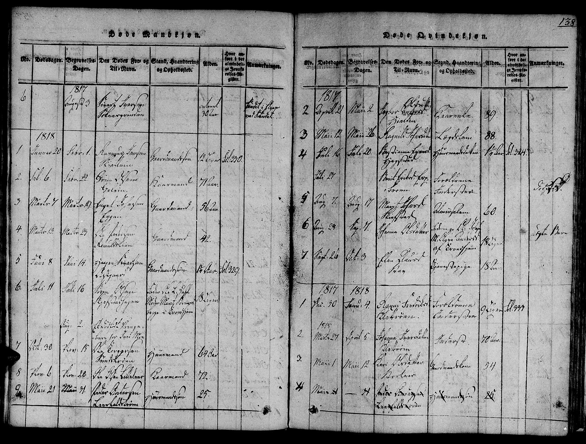 SAT, Ministerialprotokoller, klokkerbøker og fødselsregistre - Sør-Trøndelag, 691/L1067: Ministerialbok nr. 691A03 /3, 1816-1826, s. 138