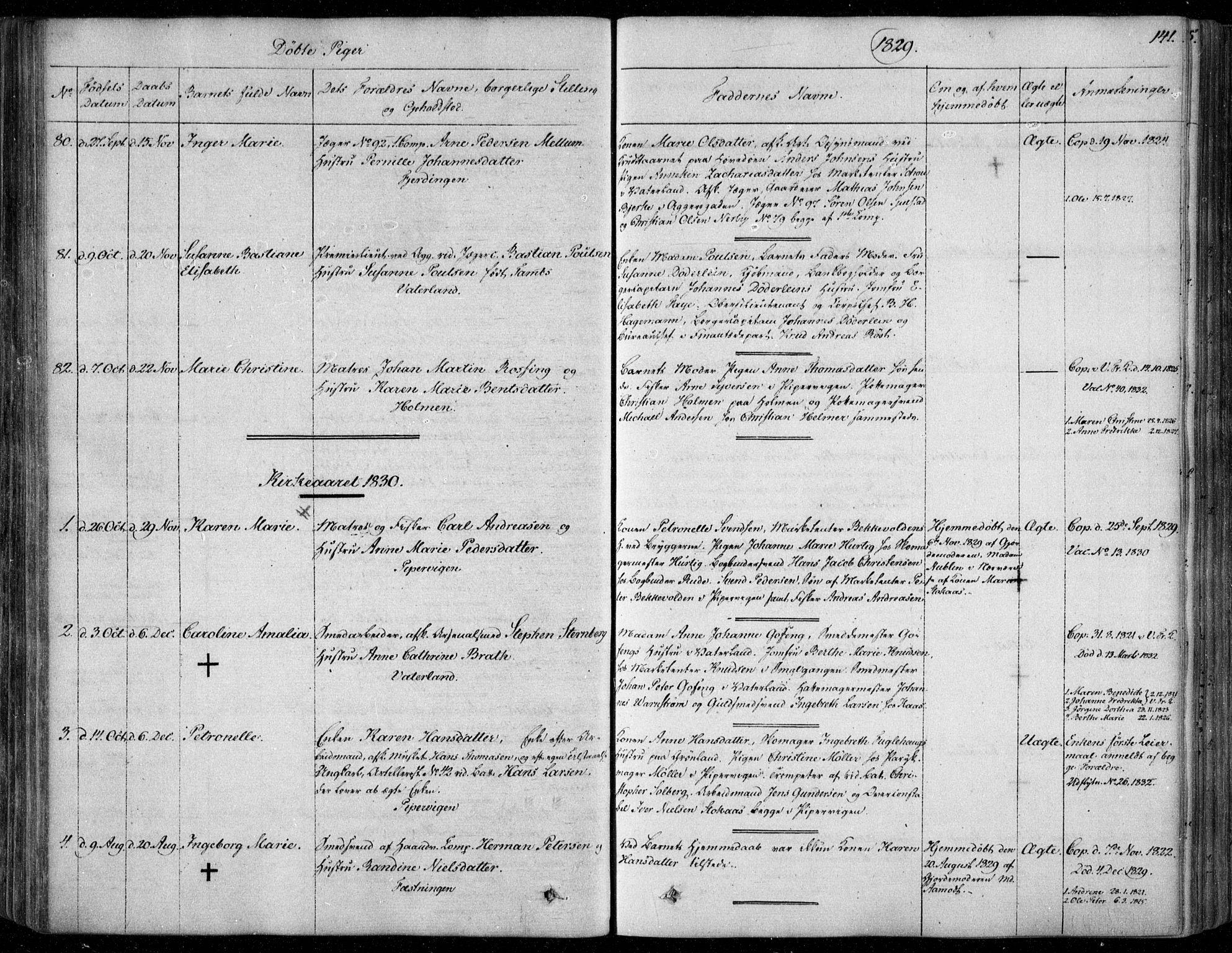 SAO, Garnisonsmenigheten Kirkebøker, F/Fa/L0006: Ministerialbok nr. 6, 1828-1841, s. 141