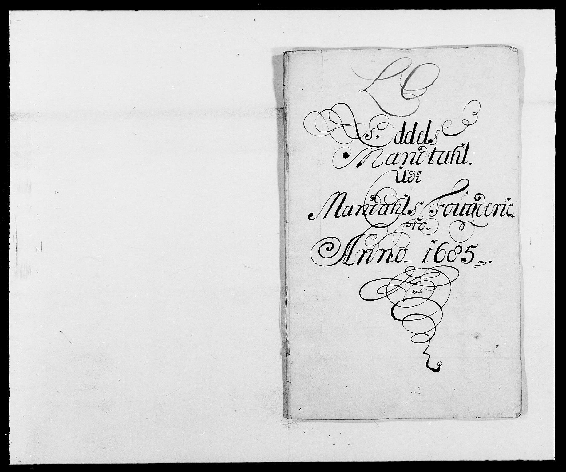 RA, Rentekammeret inntil 1814, Reviderte regnskaper, Fogderegnskap, R42/L2542: Mandal fogderi, 1685-1687, s. 44