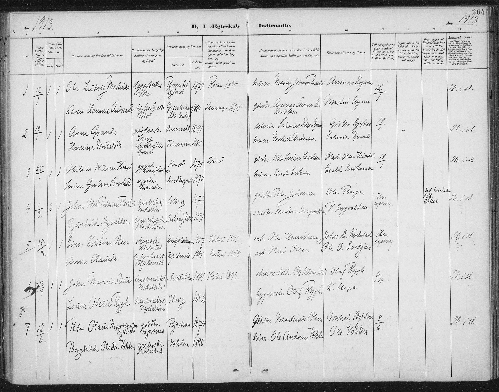 SAT, Ministerialprotokoller, klokkerbøker og fødselsregistre - Nord-Trøndelag, 723/L0246: Ministerialbok nr. 723A15, 1900-1917, s. 264