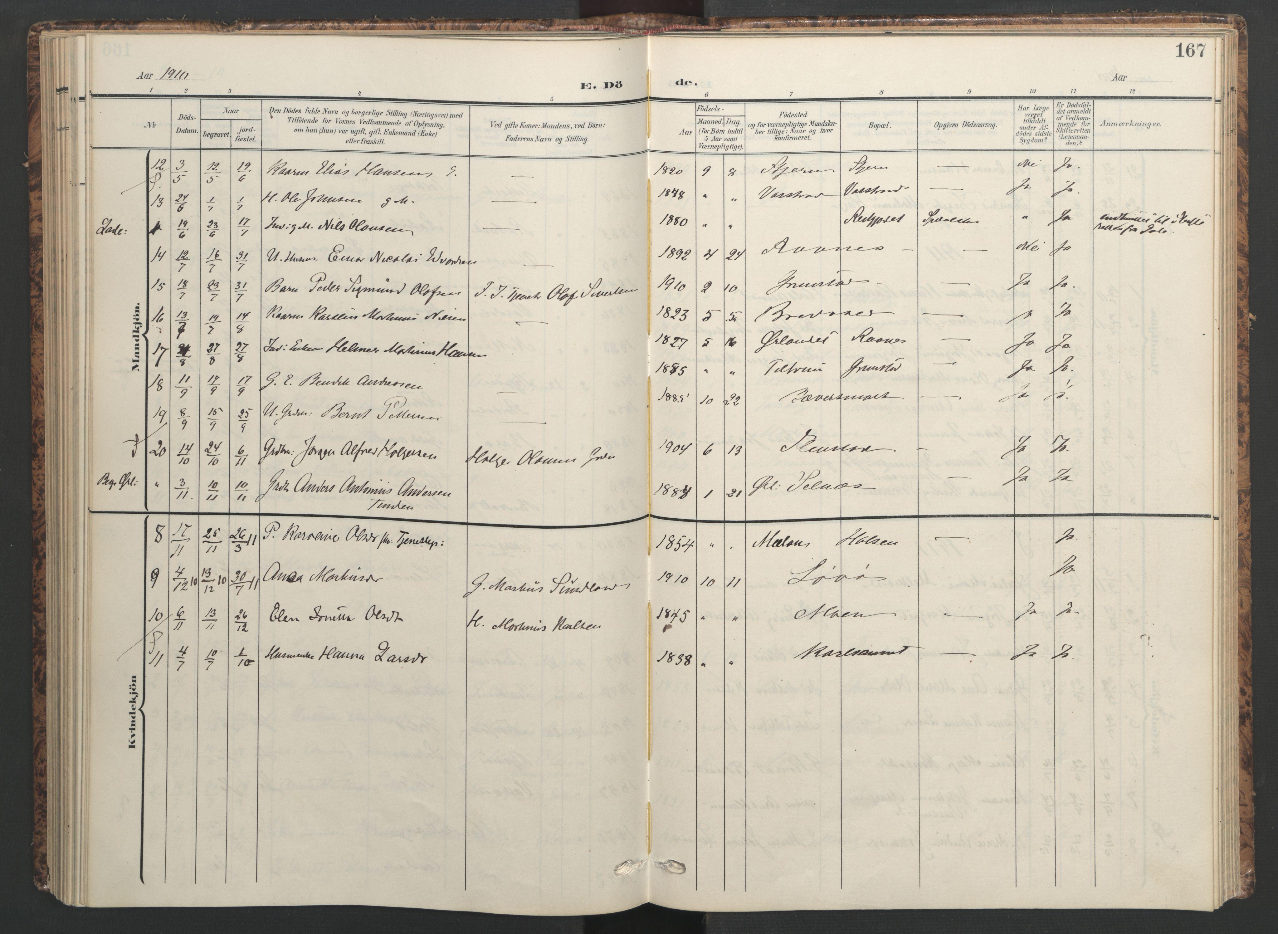 SAT, Ministerialprotokoller, klokkerbøker og fødselsregistre - Sør-Trøndelag, 655/L0682: Ministerialbok nr. 655A11, 1908-1922, s. 167