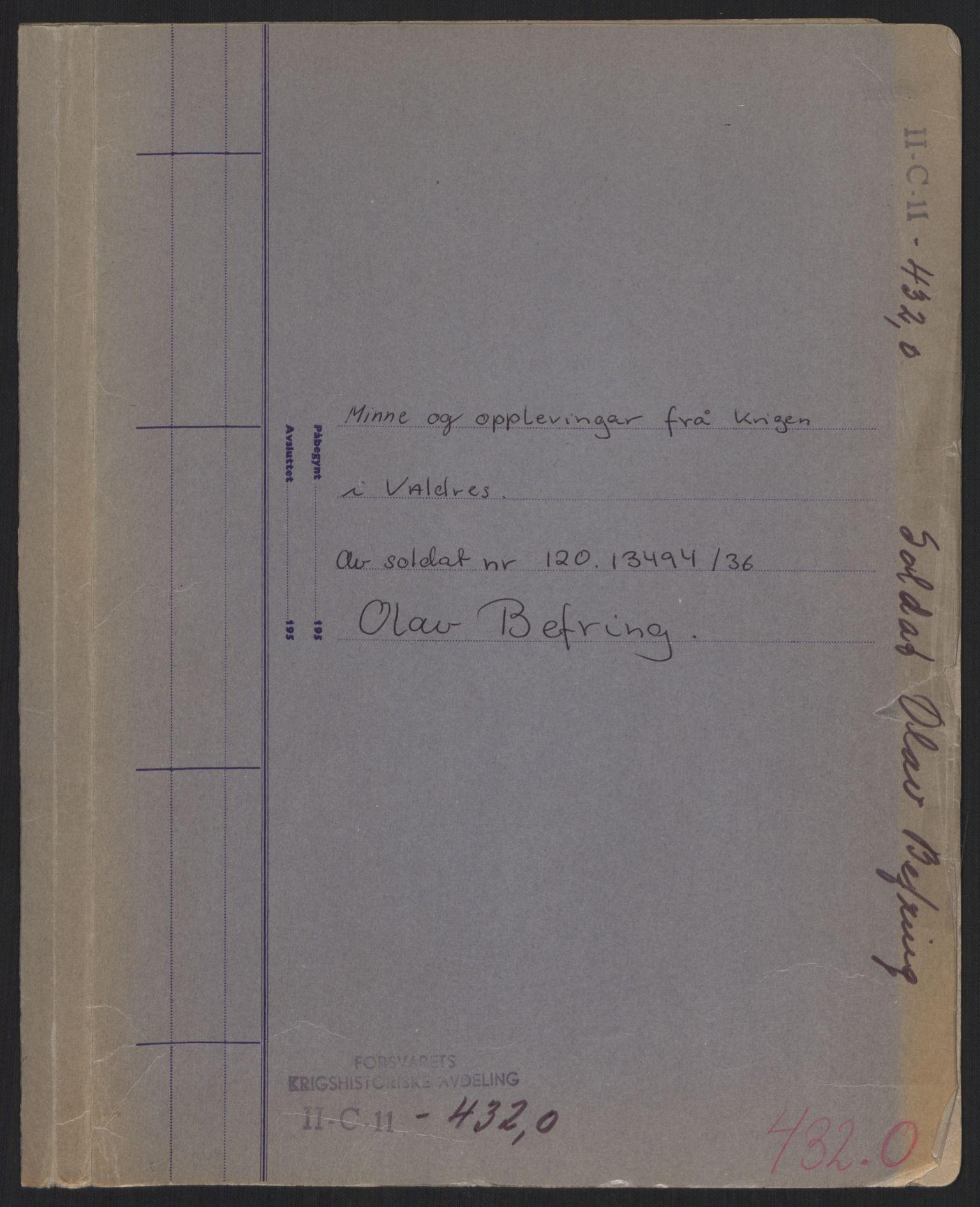 RA, Forsvaret, Forsvarets krigshistoriske avdeling, Y/Yb/L0106: II-C-11-433-438  -  4. Divisjon., 1940, s. 1