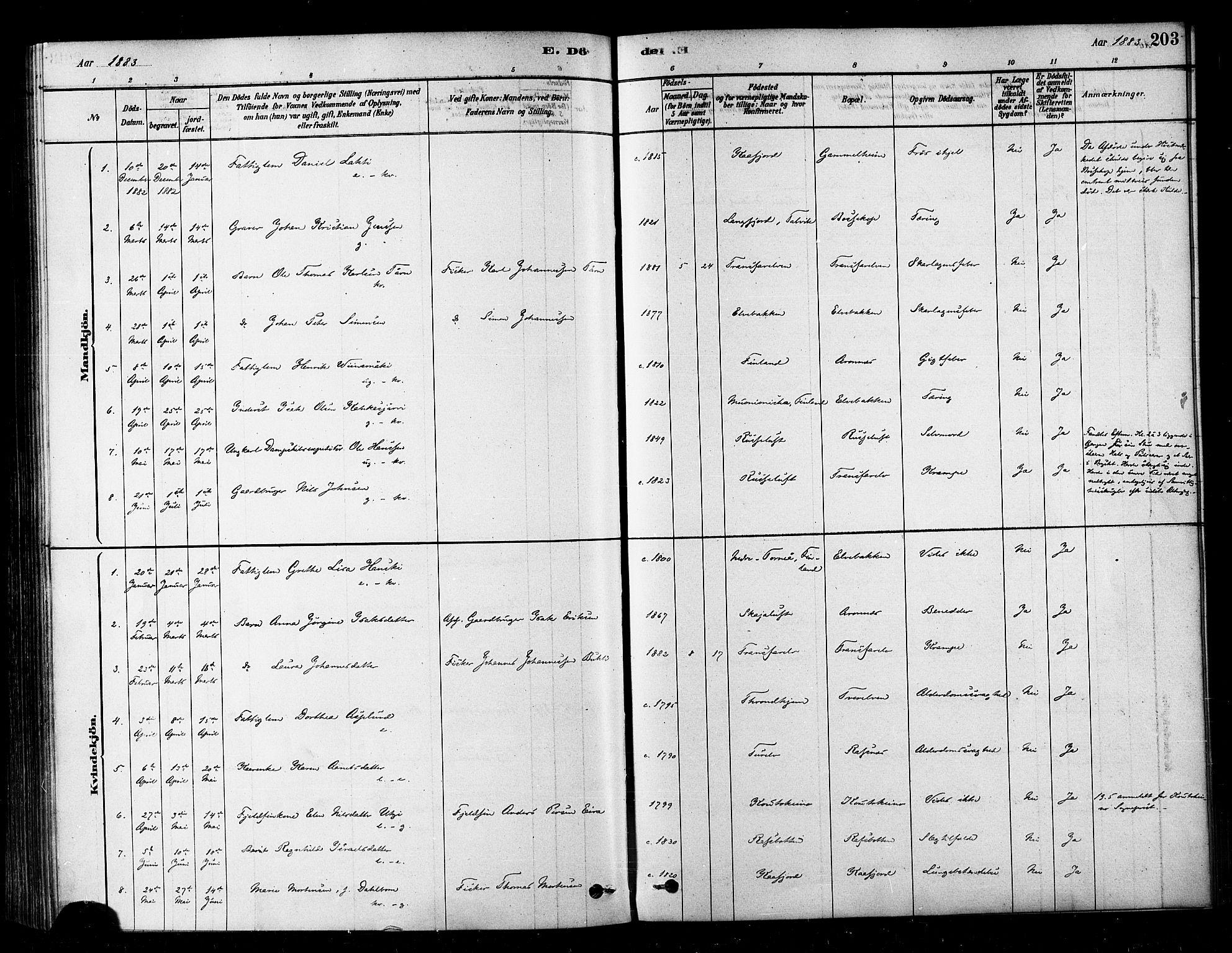 SATØ, Alta sokneprestembete, Ministerialbok nr. 2, 1879-1892, s. 203