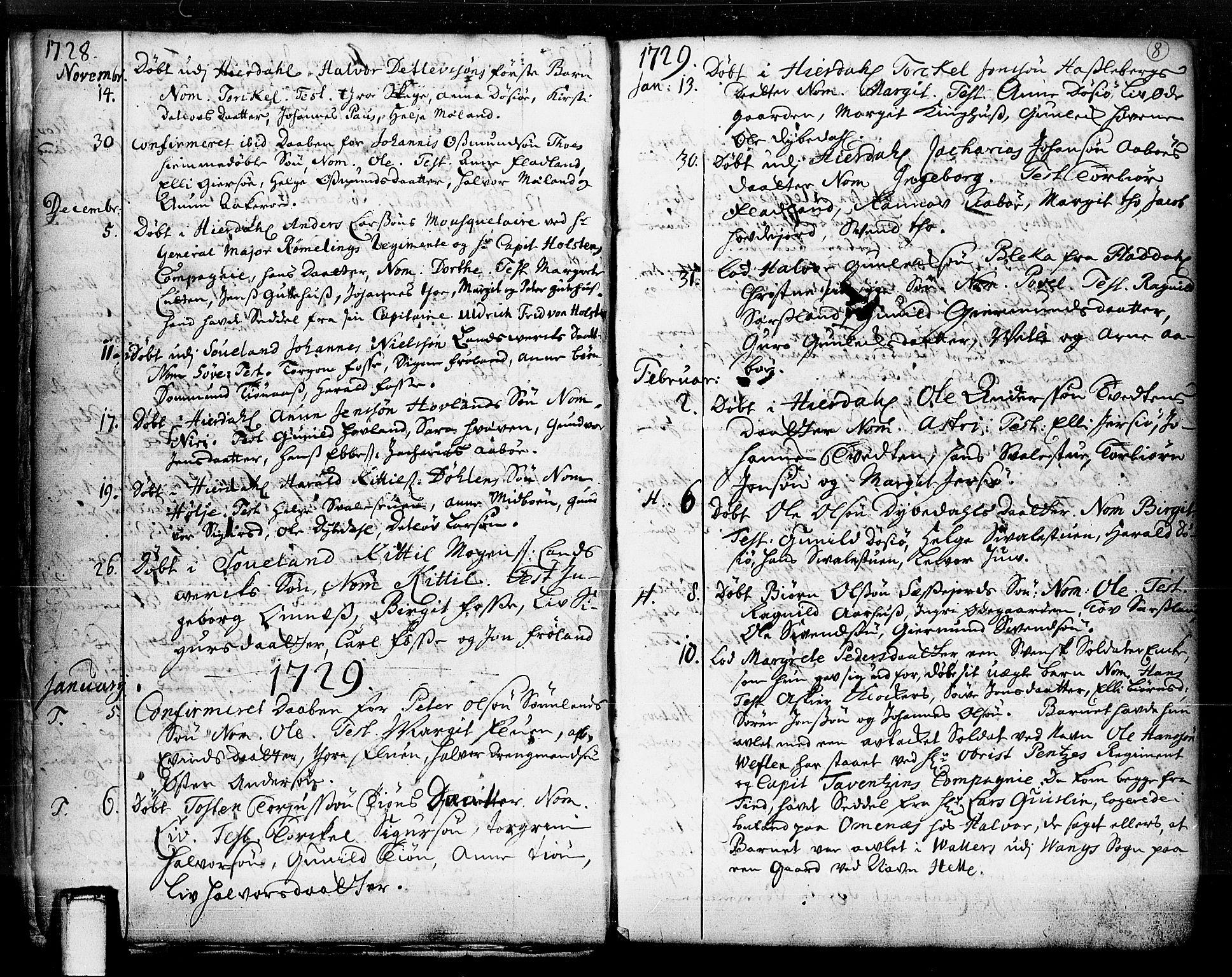 SAKO, Hjartdal kirkebøker, F/Fa/L0003: Ministerialbok nr. I 3, 1727-1775, s. 8
