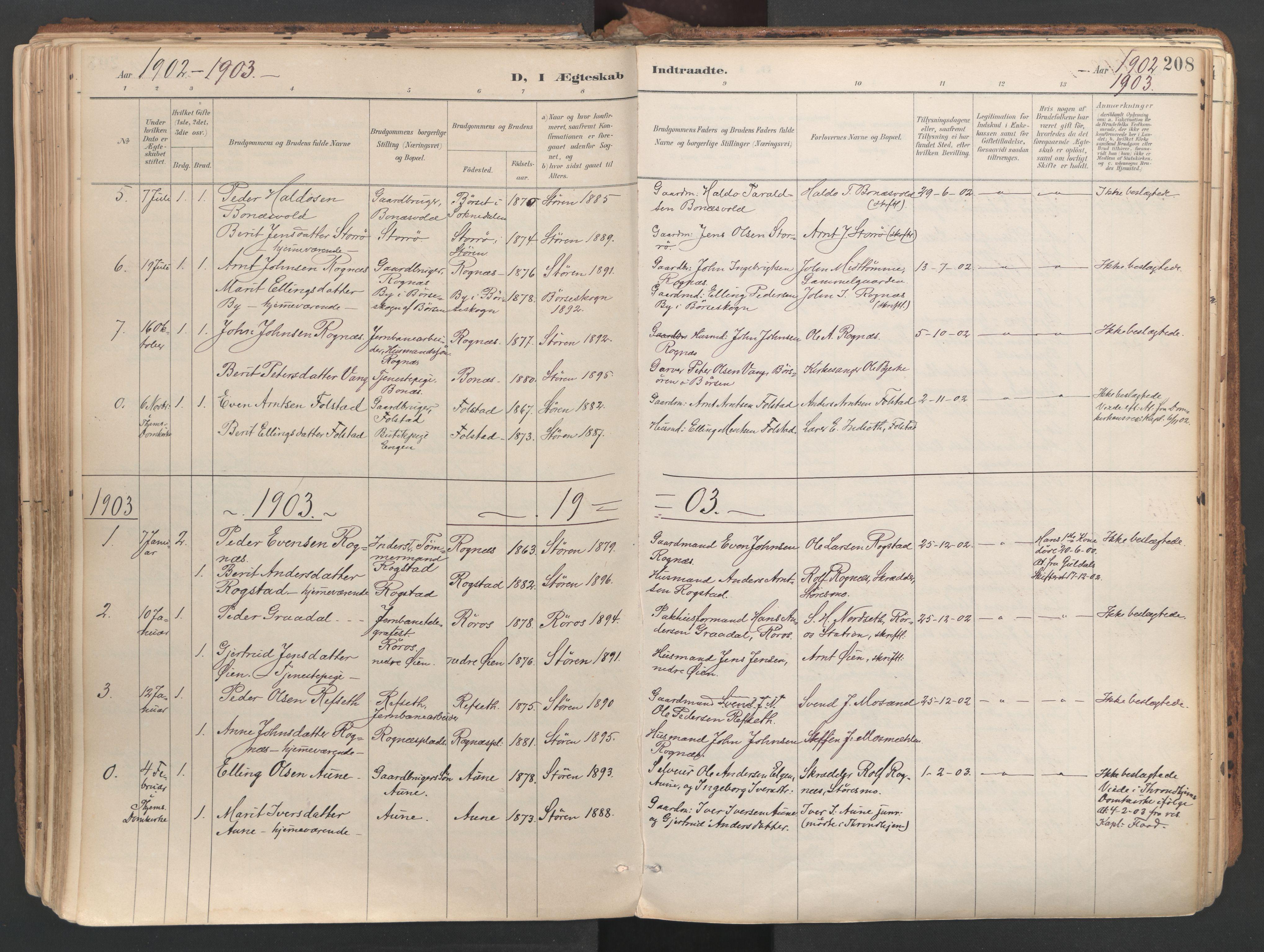 SAT, Ministerialprotokoller, klokkerbøker og fødselsregistre - Sør-Trøndelag, 687/L1004: Ministerialbok nr. 687A10, 1891-1923, s. 208