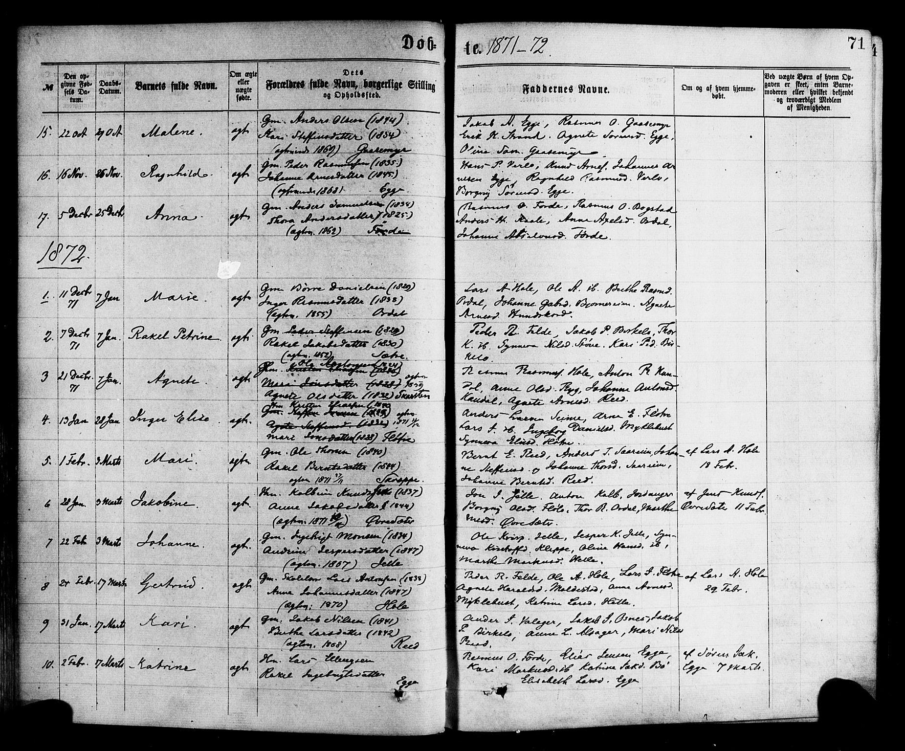 SAB, Gloppen sokneprestembete, H/Haa/Haac/L0001: Ministerialbok nr. C 1, 1871-1886, s. 71