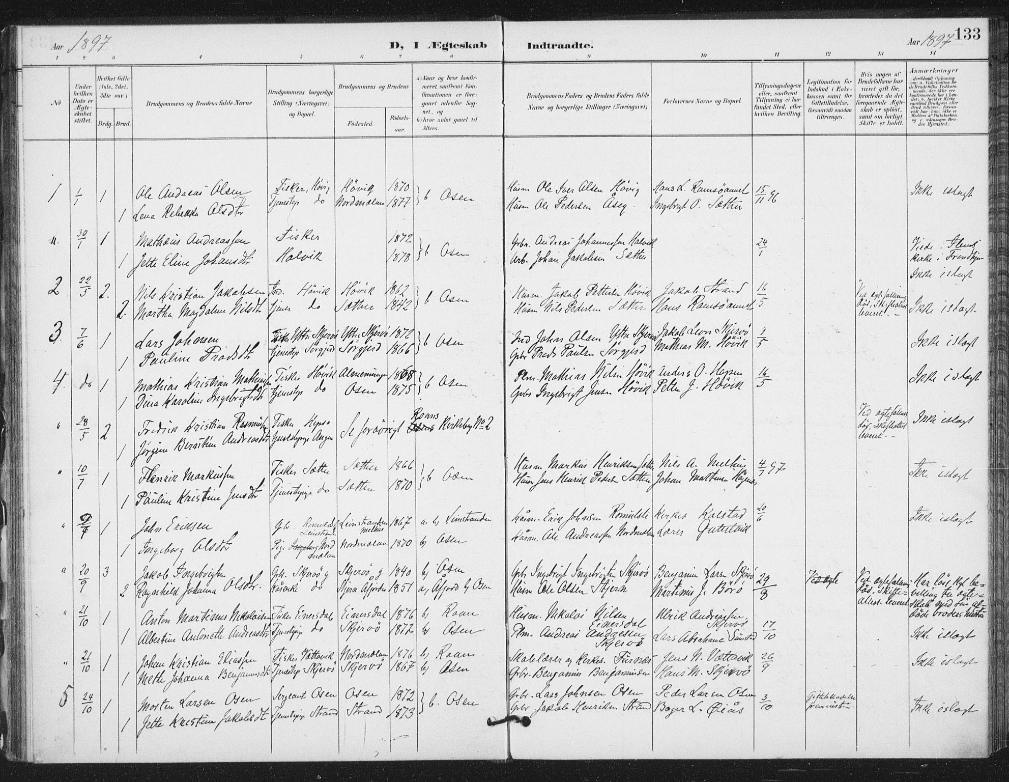 SAT, Ministerialprotokoller, klokkerbøker og fødselsregistre - Sør-Trøndelag, 658/L0723: Ministerialbok nr. 658A02, 1897-1912, s. 133