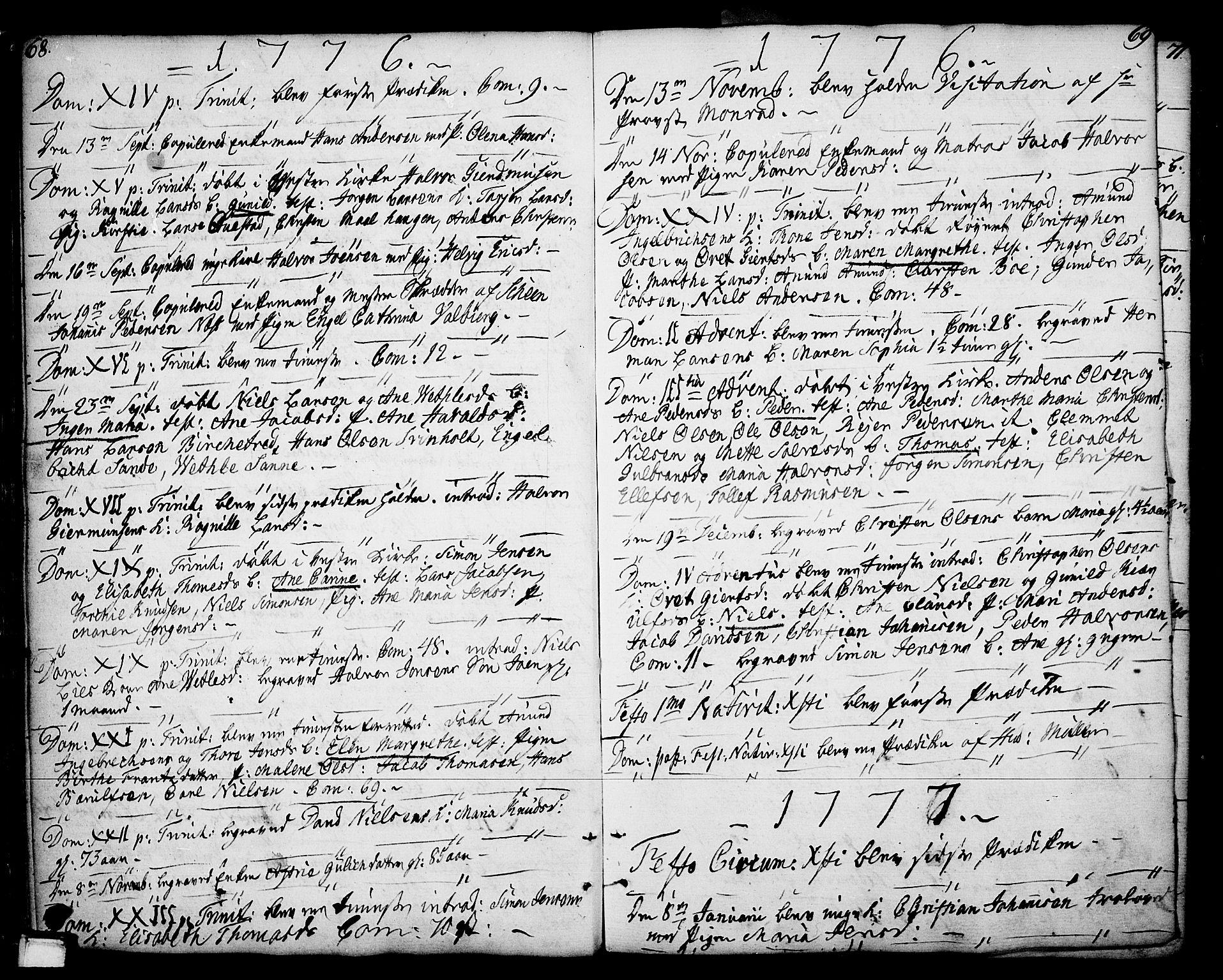 SAKO, Porsgrunn kirkebøker , F/Fa/L0002: Ministerialbok nr. 2, 1764-1814, s. 68-69