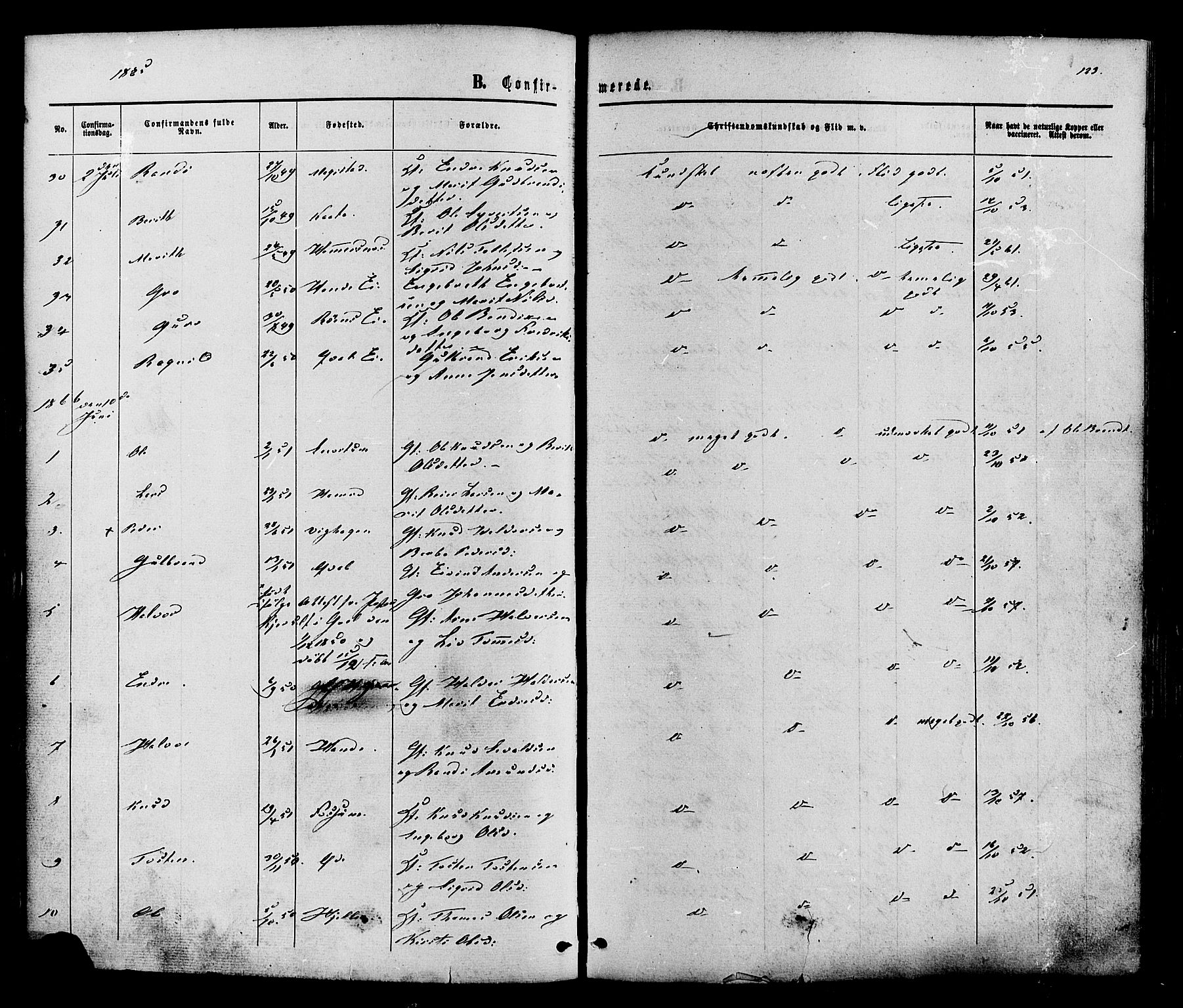 SAH, Vestre Slidre prestekontor, Ministerialbok nr. 3, 1865-1880, s. 123