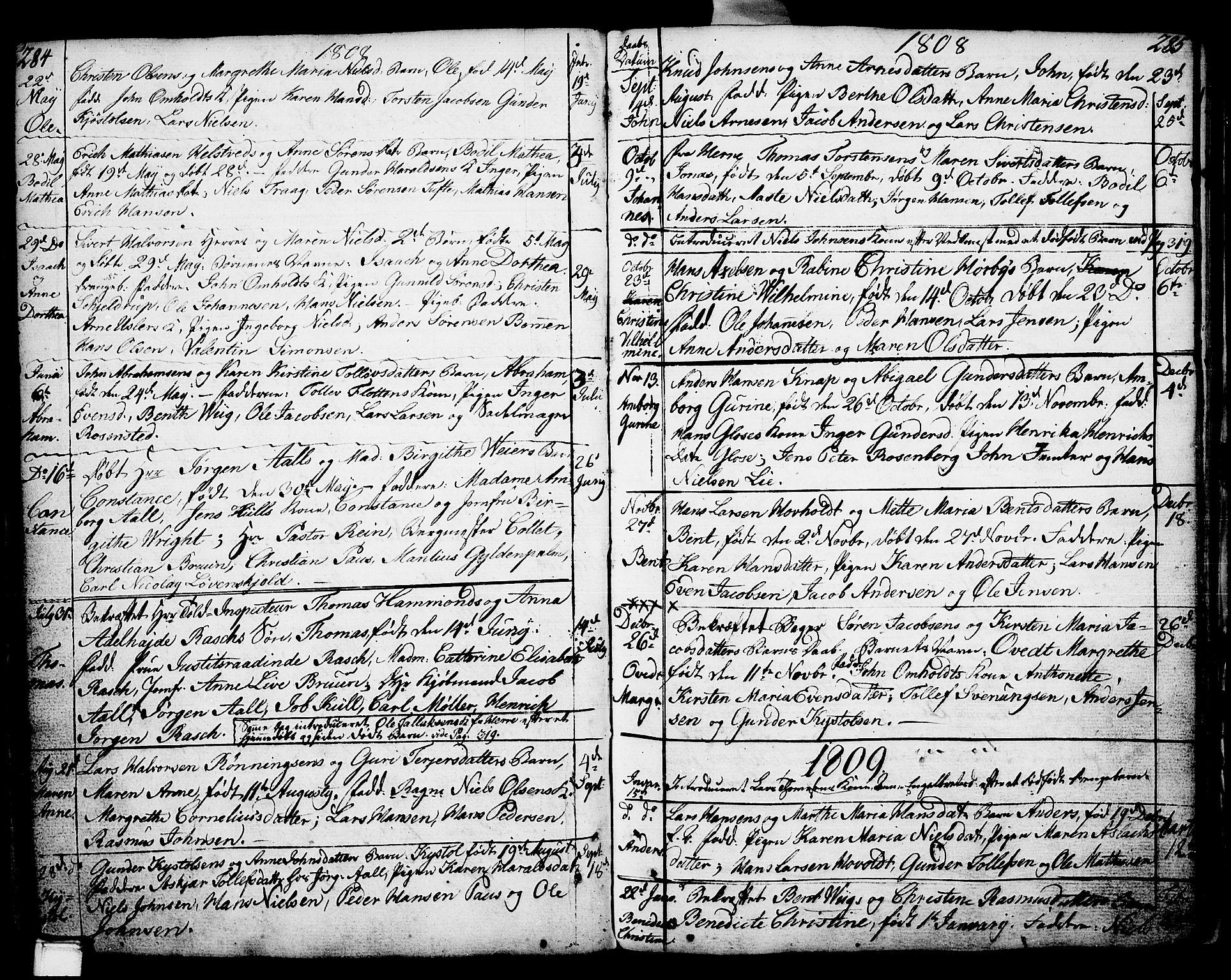 SAKO, Porsgrunn kirkebøker , F/Fa/L0002: Ministerialbok nr. 2, 1764-1814, s. 284-285
