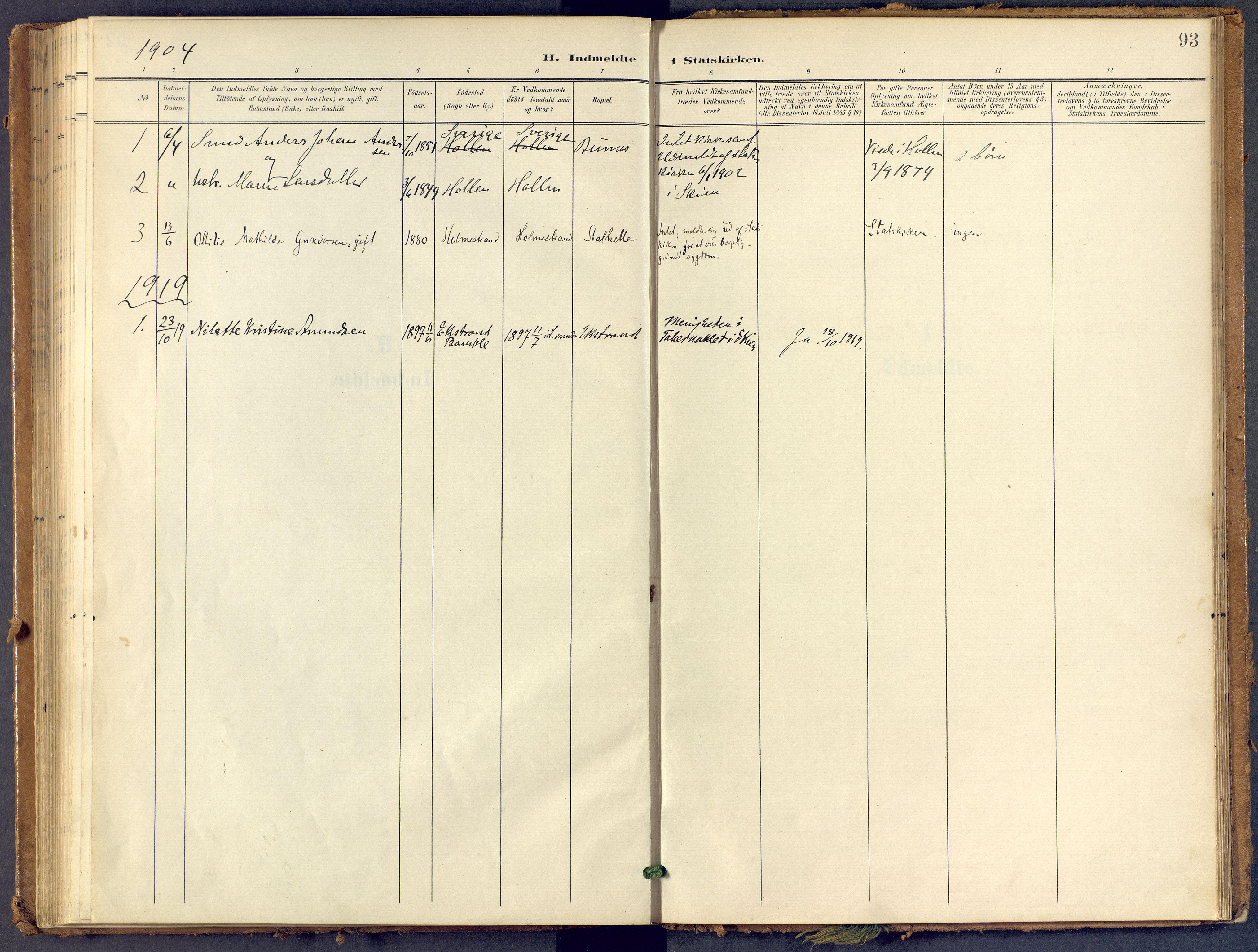 SAKO, Bamble kirkebøker, F/Fb/L0002: Ministerialbok nr. II 2, 1900-1921, s. 93