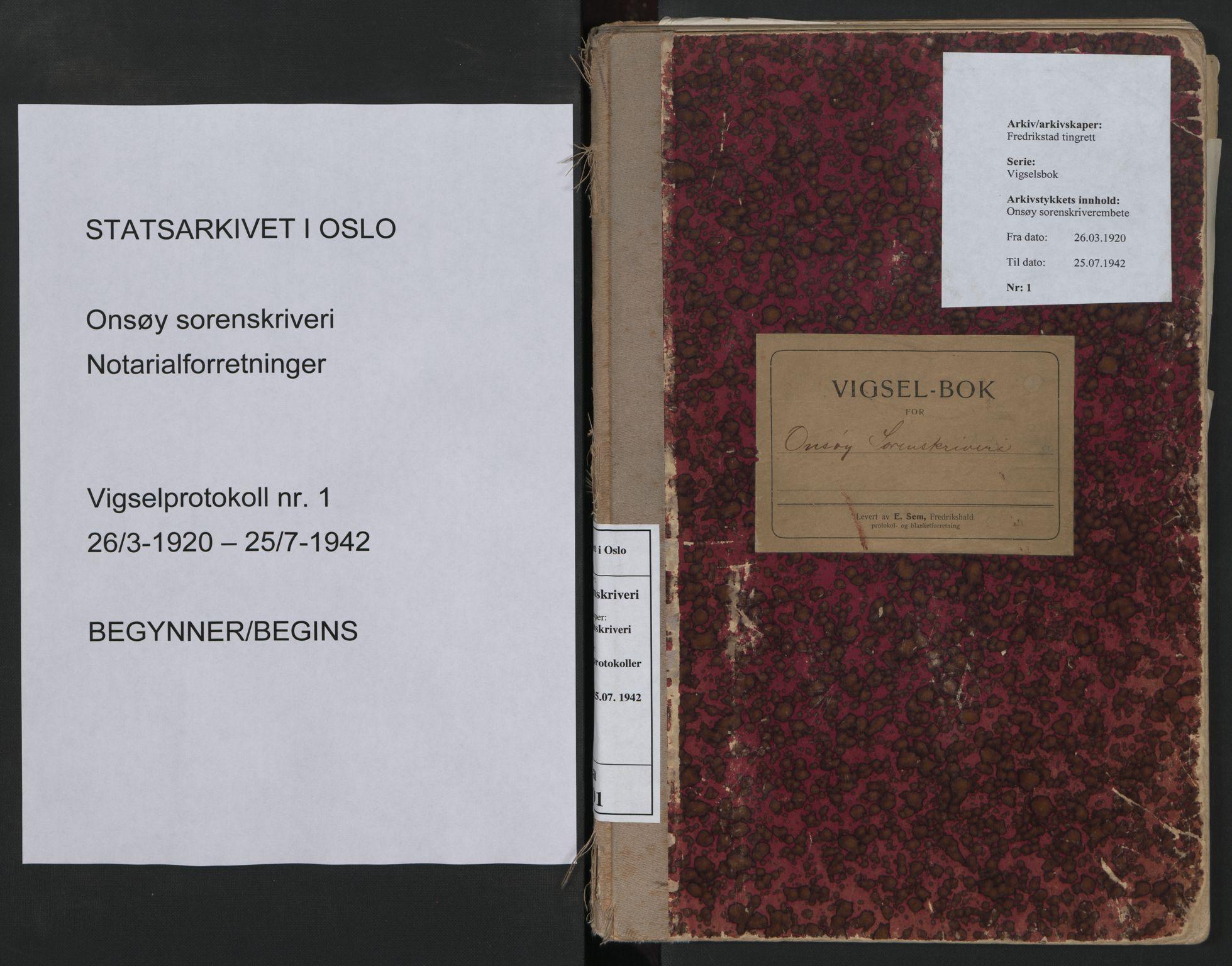 SAO, Onsøy sorenskriveri, L/La/L0001: Vigselsbok, 1920-1942, s. upaginert