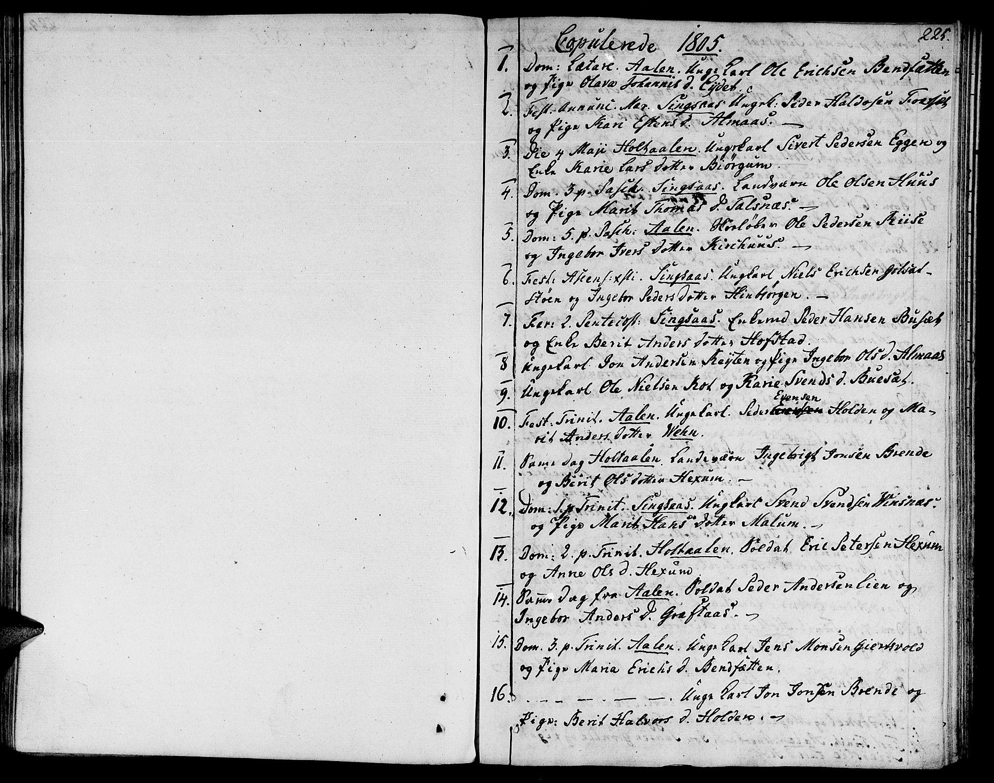 SAT, Ministerialprotokoller, klokkerbøker og fødselsregistre - Sør-Trøndelag, 685/L0953: Ministerialbok nr. 685A02, 1805-1816, s. 225
