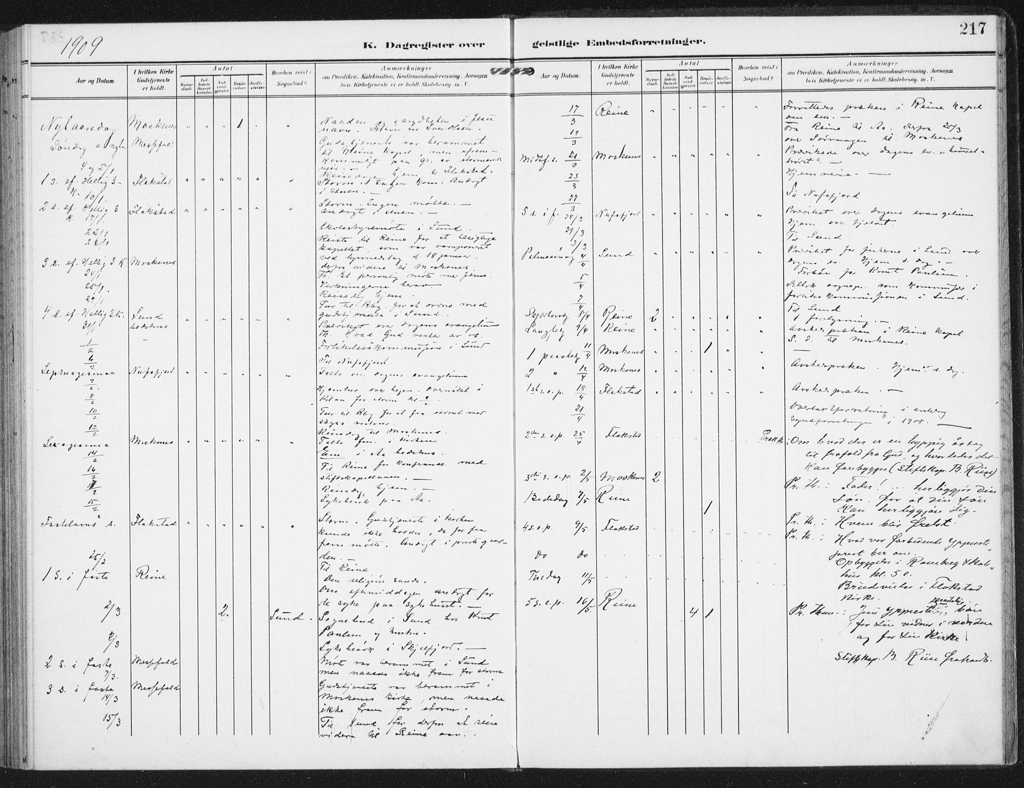 SAT, Ministerialprotokoller, klokkerbøker og fødselsregistre - Nordland, 885/L1206: Ministerialbok nr. 885A07, 1905-1915, s. 217