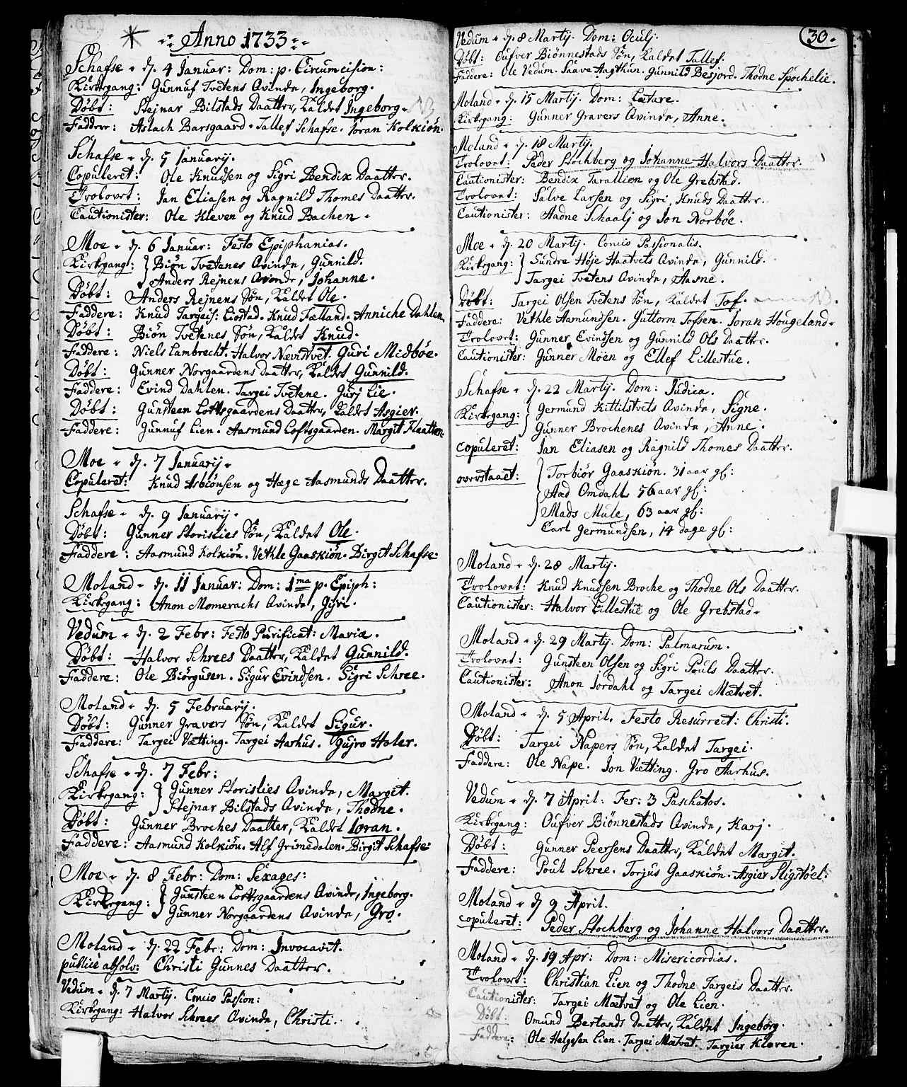SAKO, Fyresdal kirkebøker, F/Fa/L0001: Ministerialbok nr. I 1, 1724-1748, s. 30