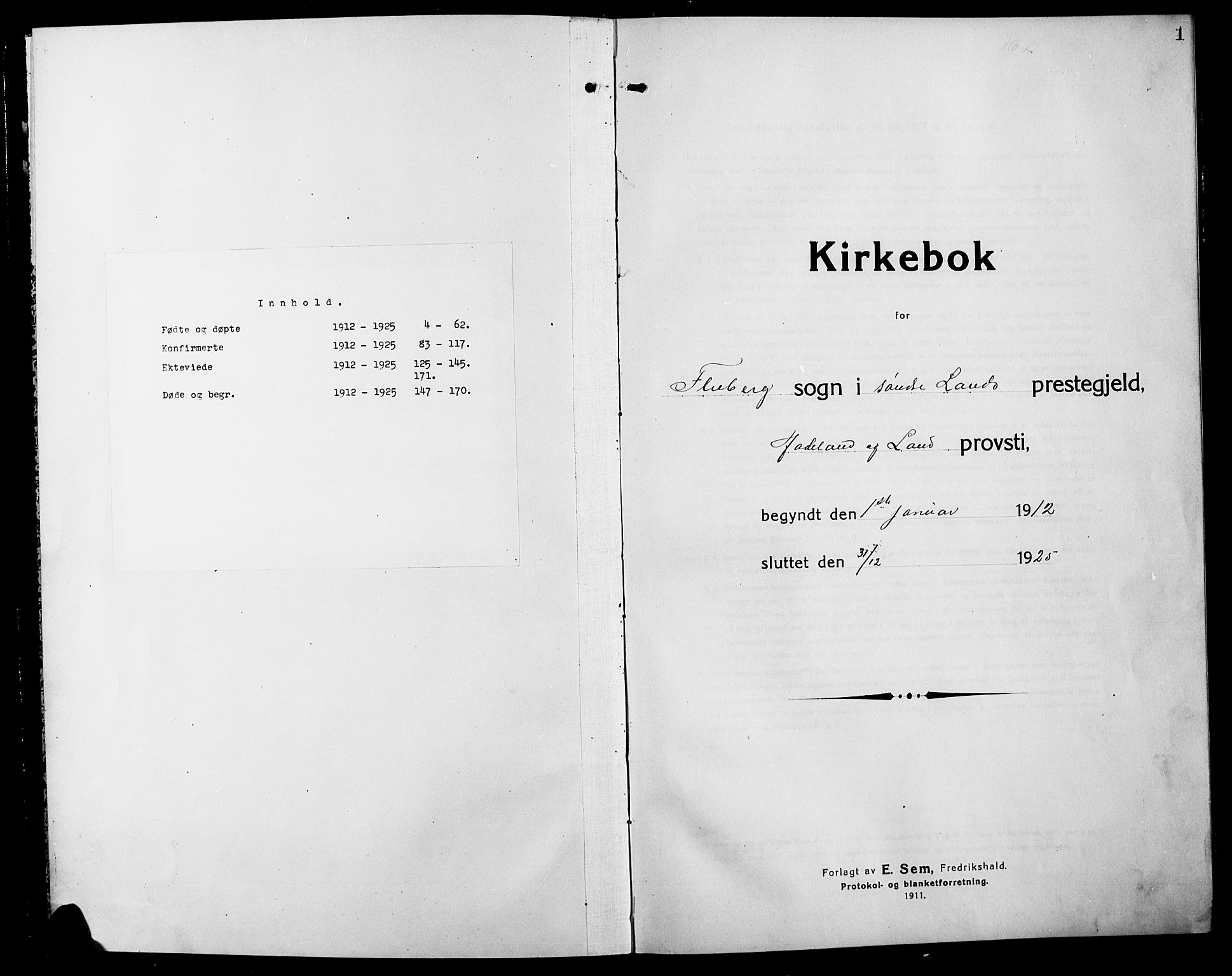 SAH, Søndre Land prestekontor, L/L0006: Klokkerbok nr. 6, 1912-1925, s. 1