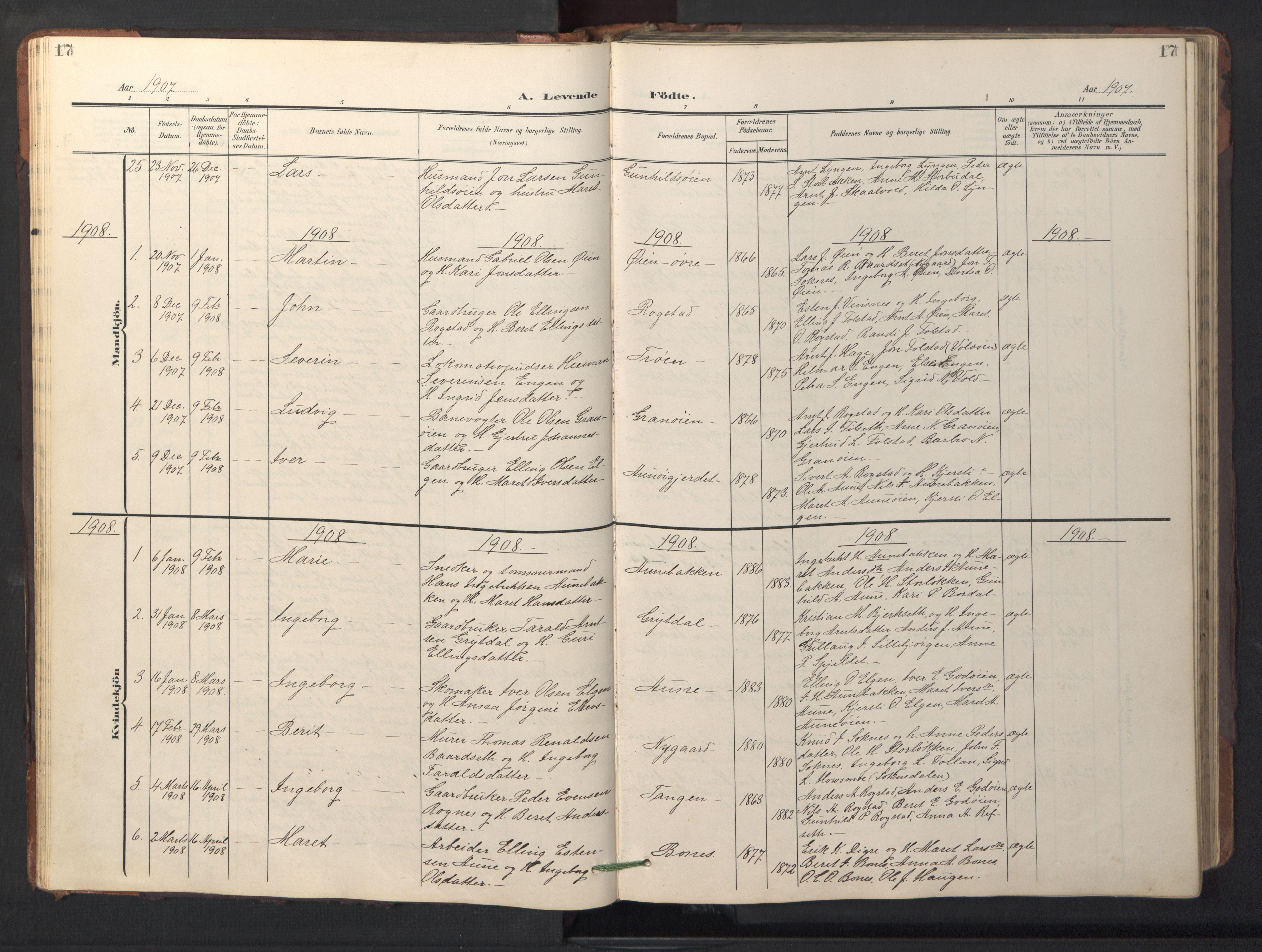 SAT, Ministerialprotokoller, klokkerbøker og fødselsregistre - Sør-Trøndelag, 687/L1019: Klokkerbok nr. 687C03, 1904-1931, s. 17