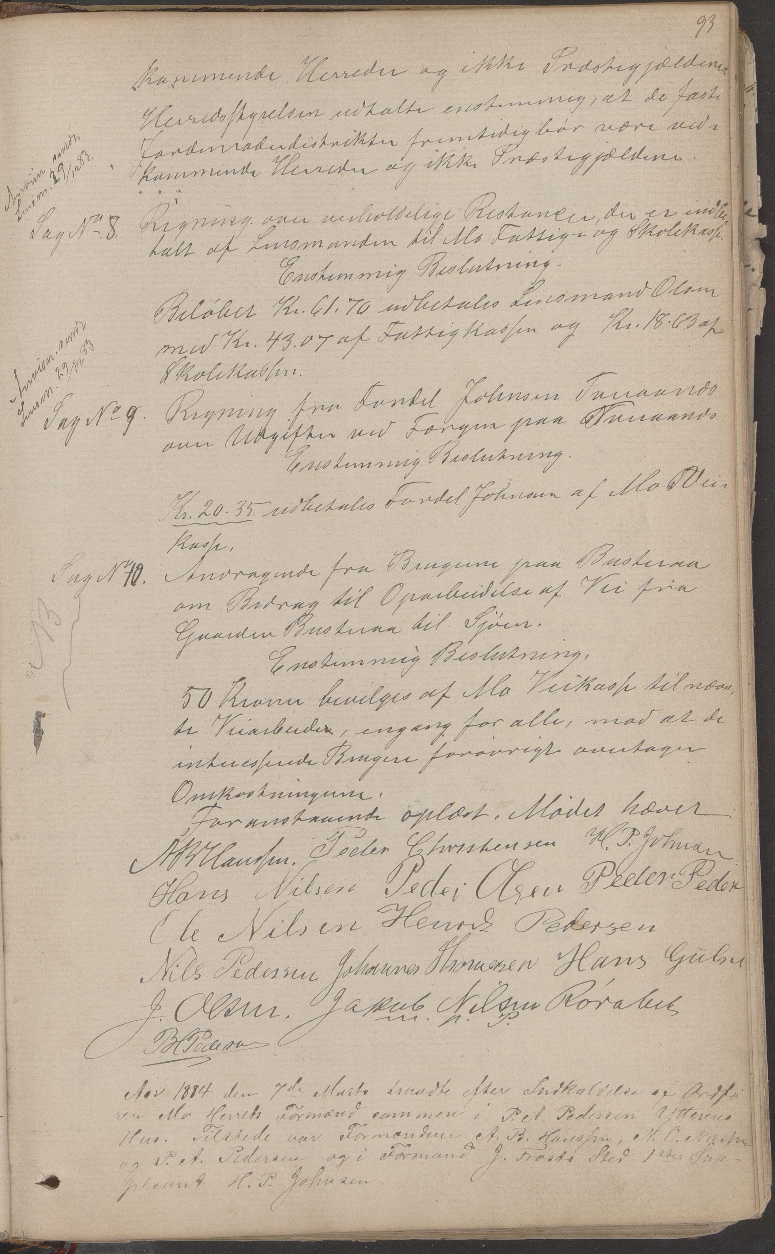 AIN, Mo kommune. Formannskapet, A/Aa/L0002: Møtebok, 1876-1891, s. 93