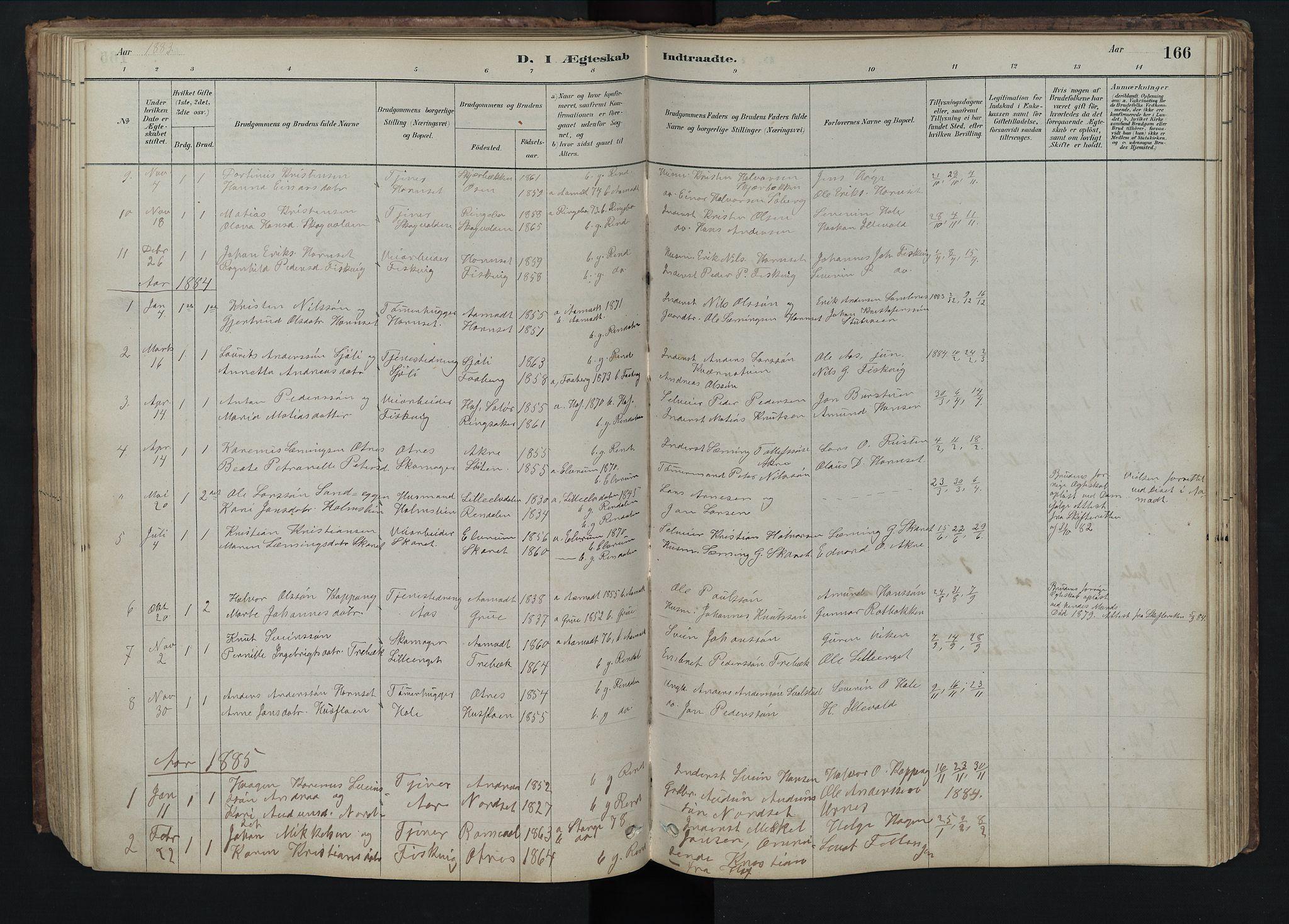 SAH, Rendalen prestekontor, H/Ha/Hab/L0009: Klokkerbok nr. 9, 1879-1902, s. 166