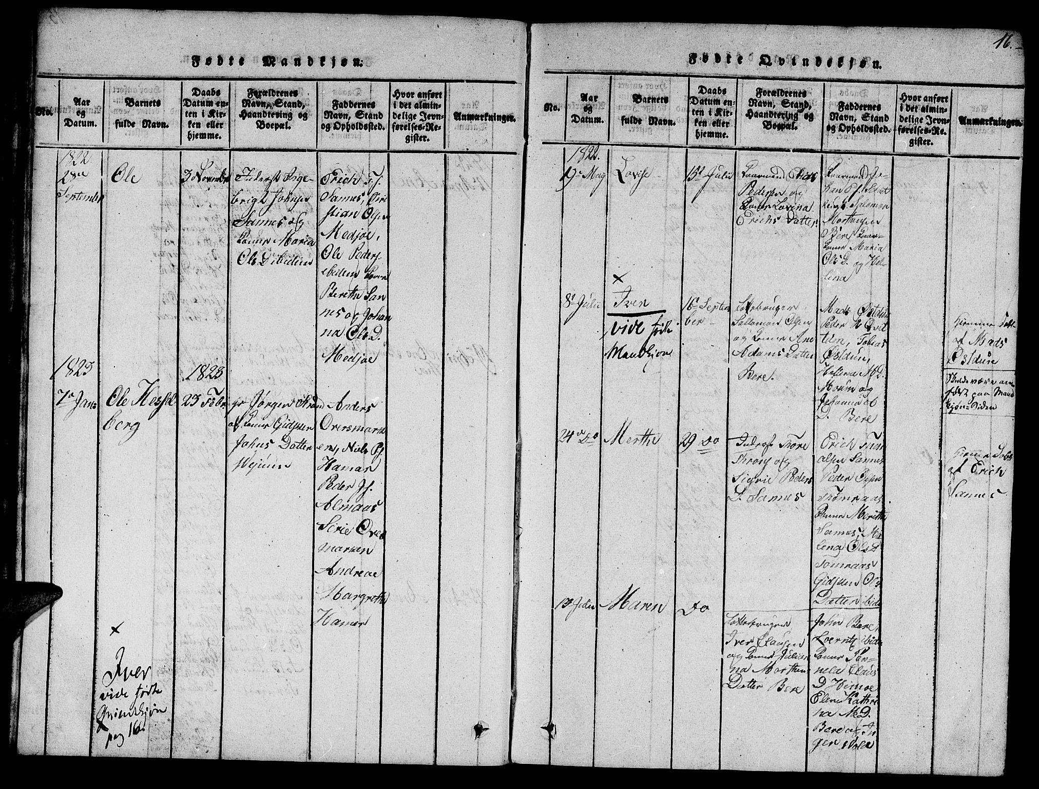 SAT, Ministerialprotokoller, klokkerbøker og fødselsregistre - Nord-Trøndelag, 758/L0521: Klokkerbok nr. 758C01, 1816-1825, s. 16