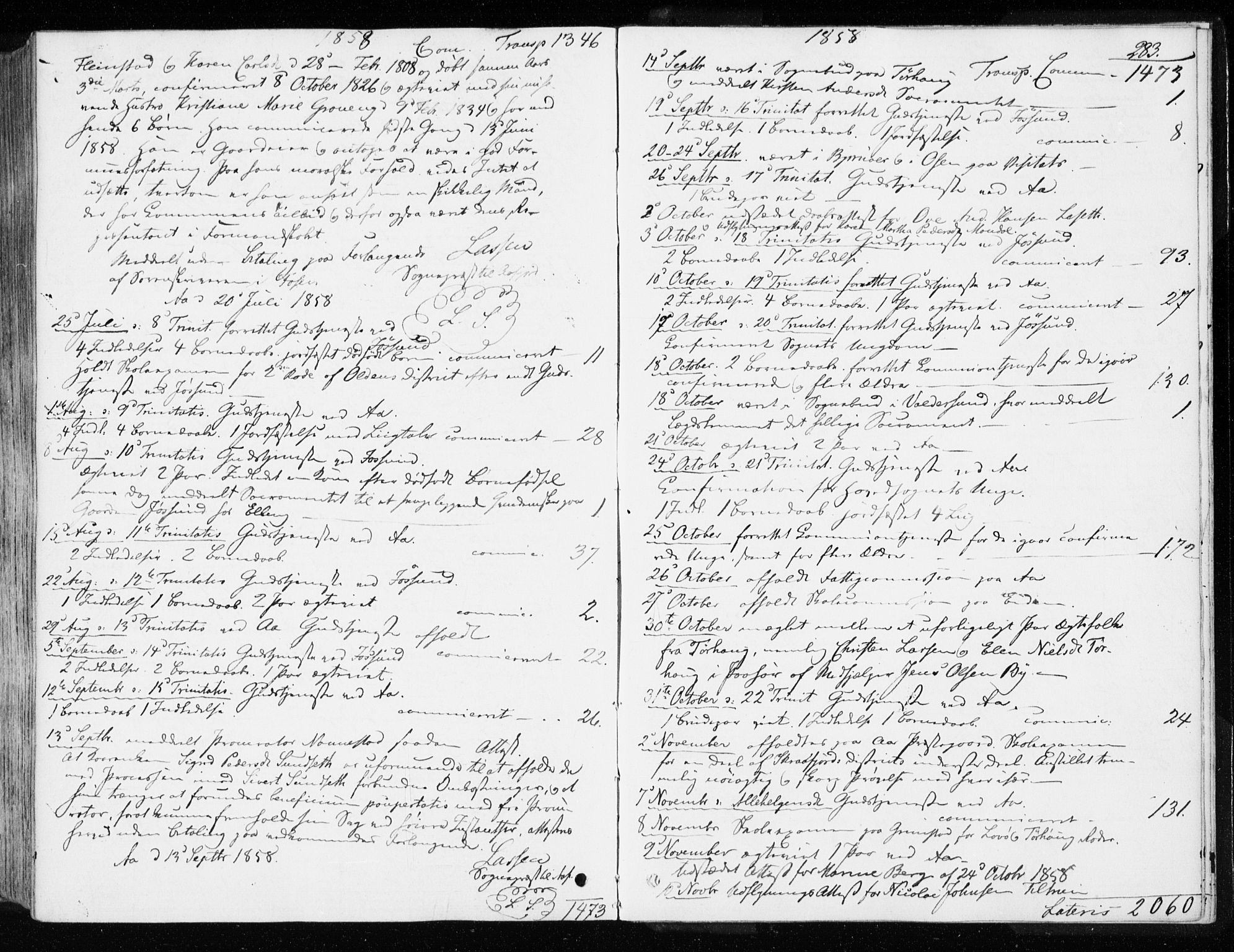 SAT, Ministerialprotokoller, klokkerbøker og fødselsregistre - Sør-Trøndelag, 655/L0677: Ministerialbok nr. 655A06, 1847-1860, s. 283