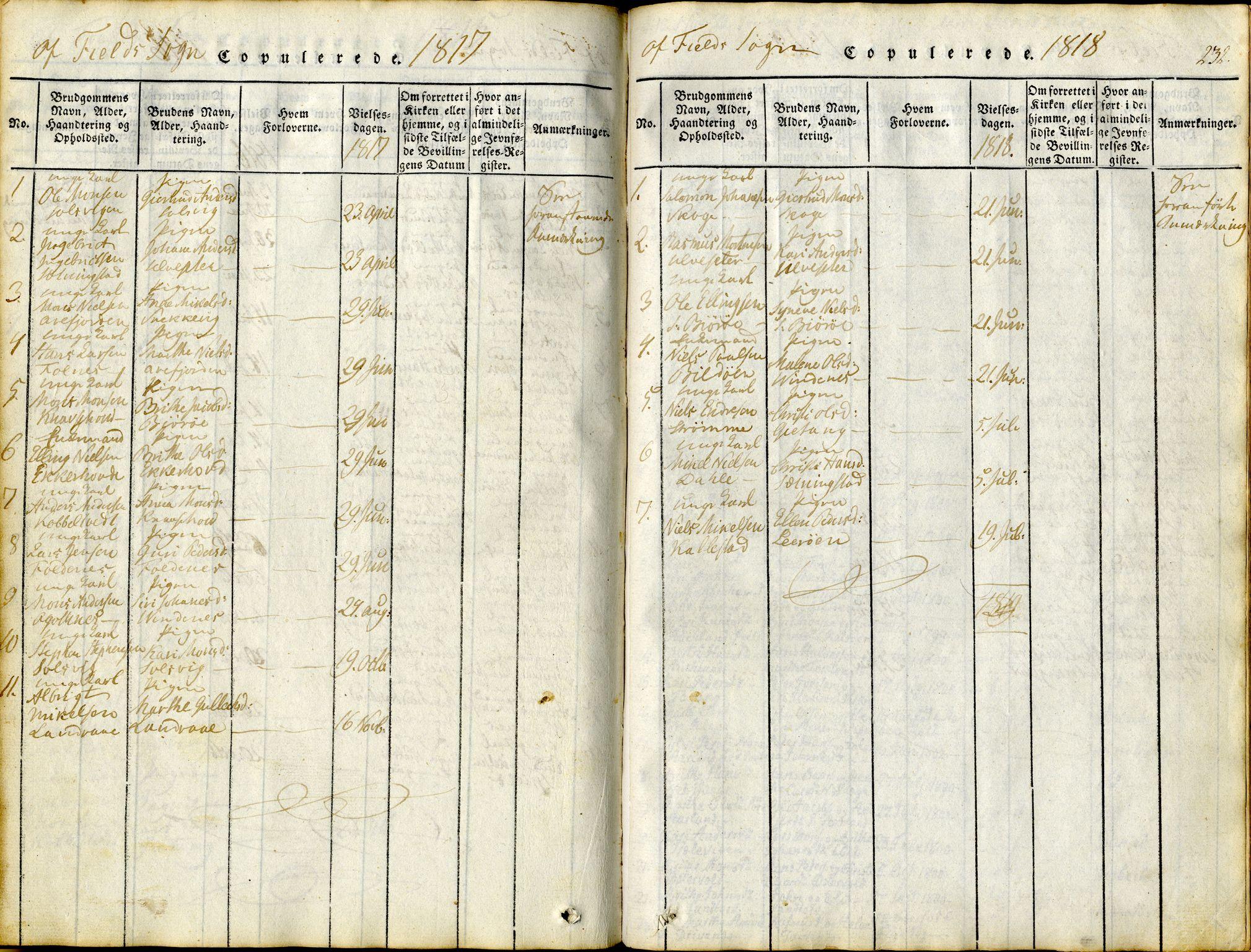 SAB, Sund sokneprestembete, Ministerialbok nr. A 11, 1814-1825, s. 232