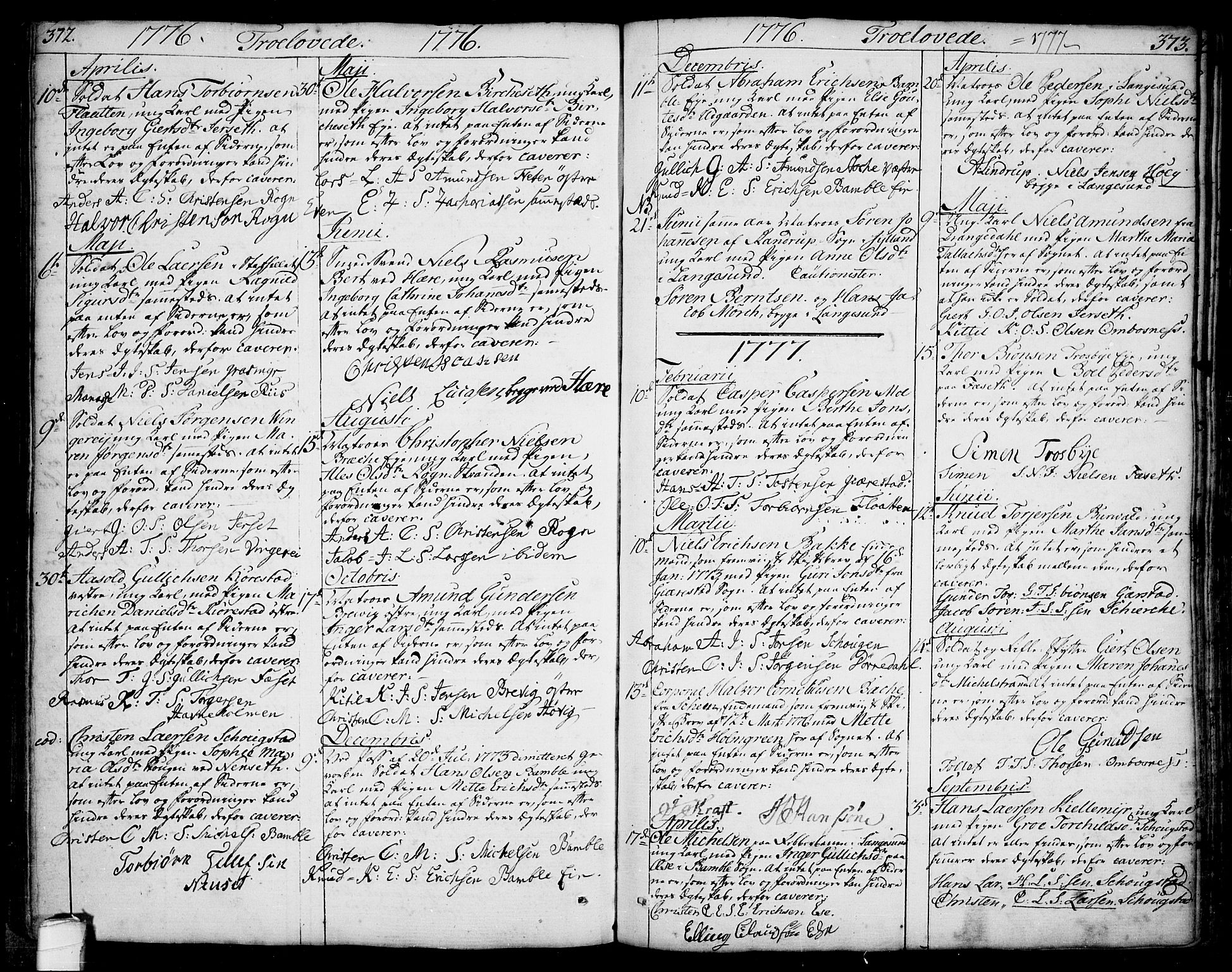 SAKO, Bamble kirkebøker, F/Fa/L0002: Ministerialbok nr. I 2, 1775-1814, s. 372-373