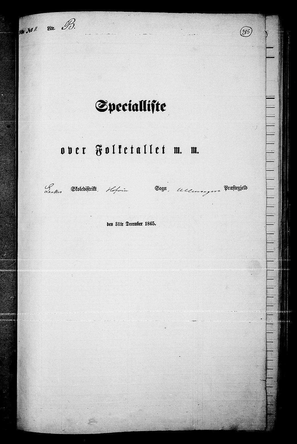 RA, Folketelling 1865 for 0235P Ullensaker prestegjeld, 1865, s. 251