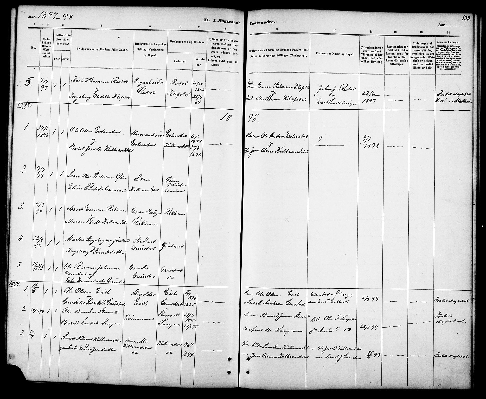 SAT, Ministerialprotokoller, klokkerbøker og fødselsregistre - Sør-Trøndelag, 694/L1132: Klokkerbok nr. 694C04, 1887-1914, s. 133