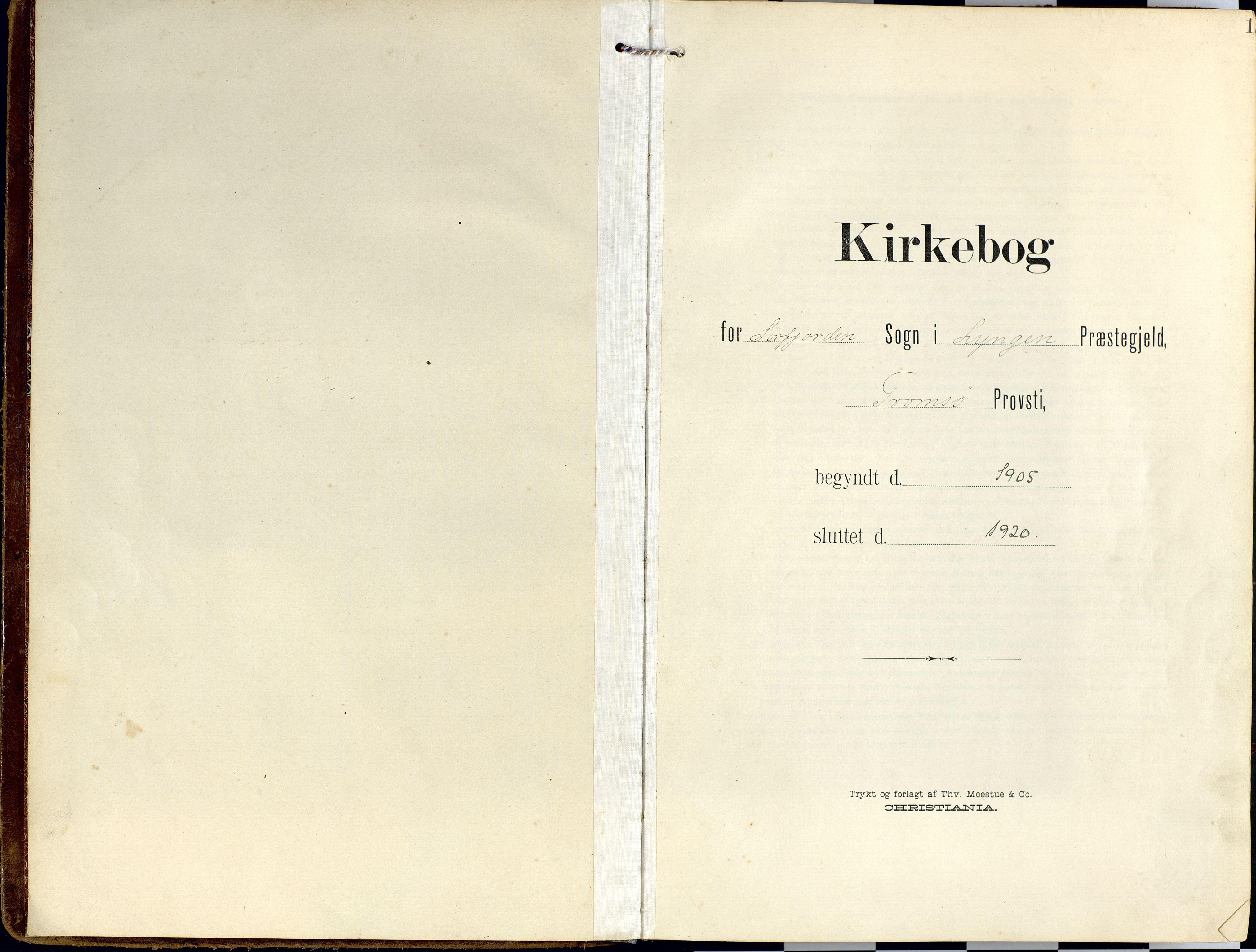 SATØ, Lyngen sokneprestembete, Ministerialbok nr. 14, 1905-1920, s. 1