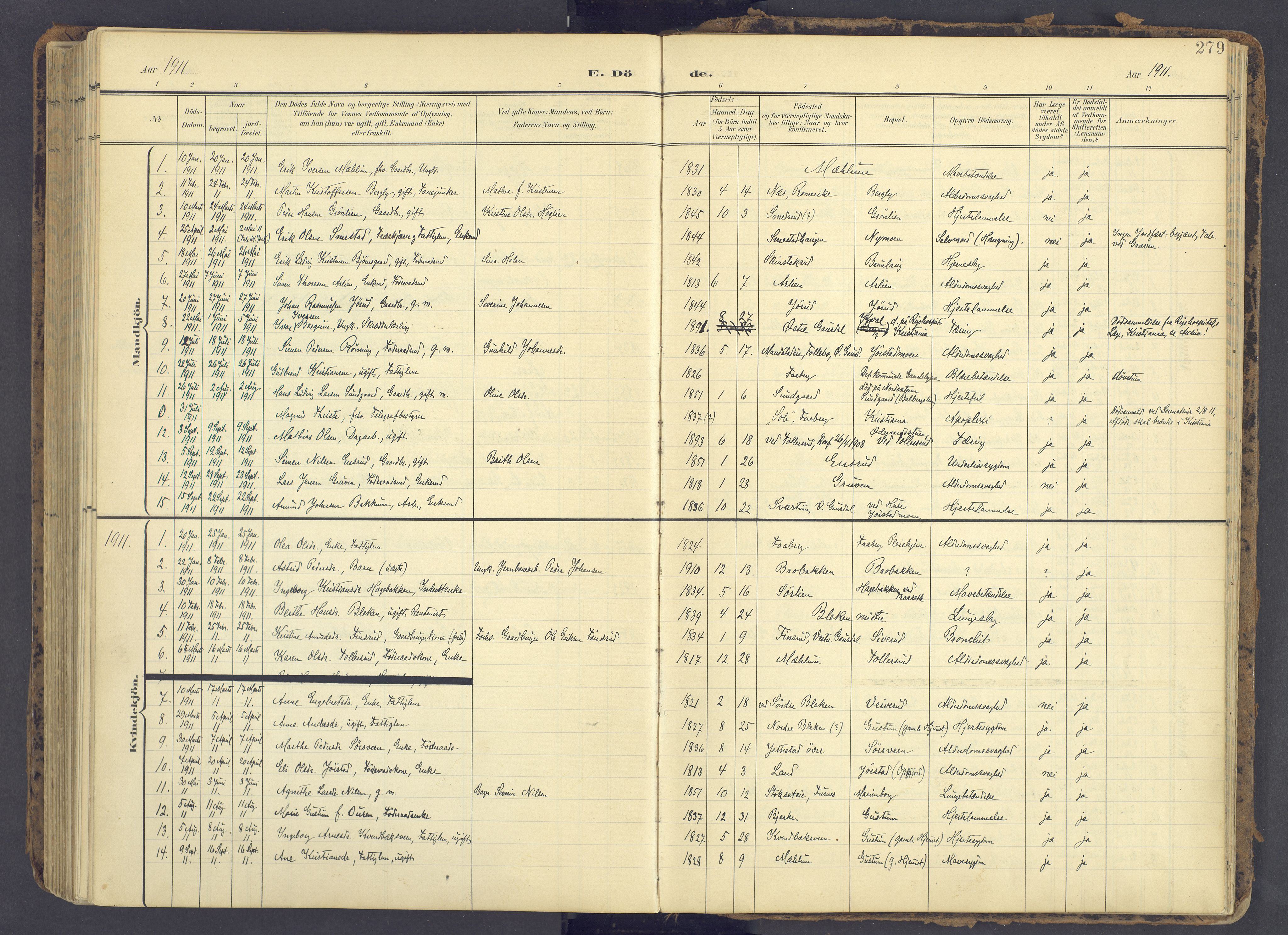 SAH, Fåberg prestekontor, Ministerialbok nr. 12, 1899-1915, s. 279