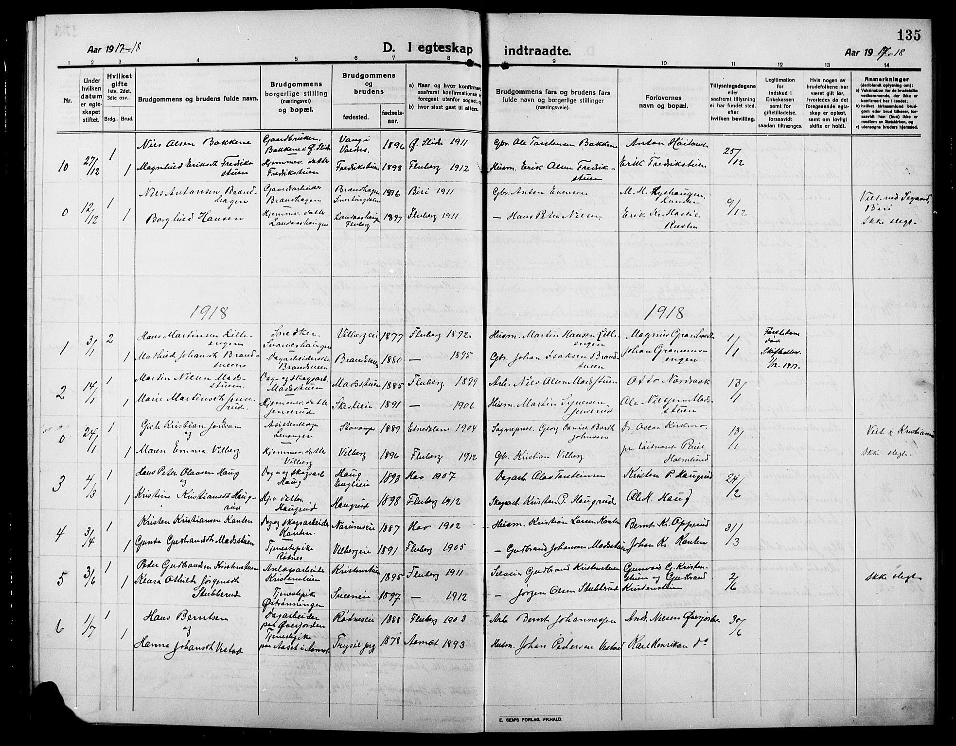 SAH, Søndre Land prestekontor, L/L0006: Klokkerbok nr. 6, 1912-1925, s. 135