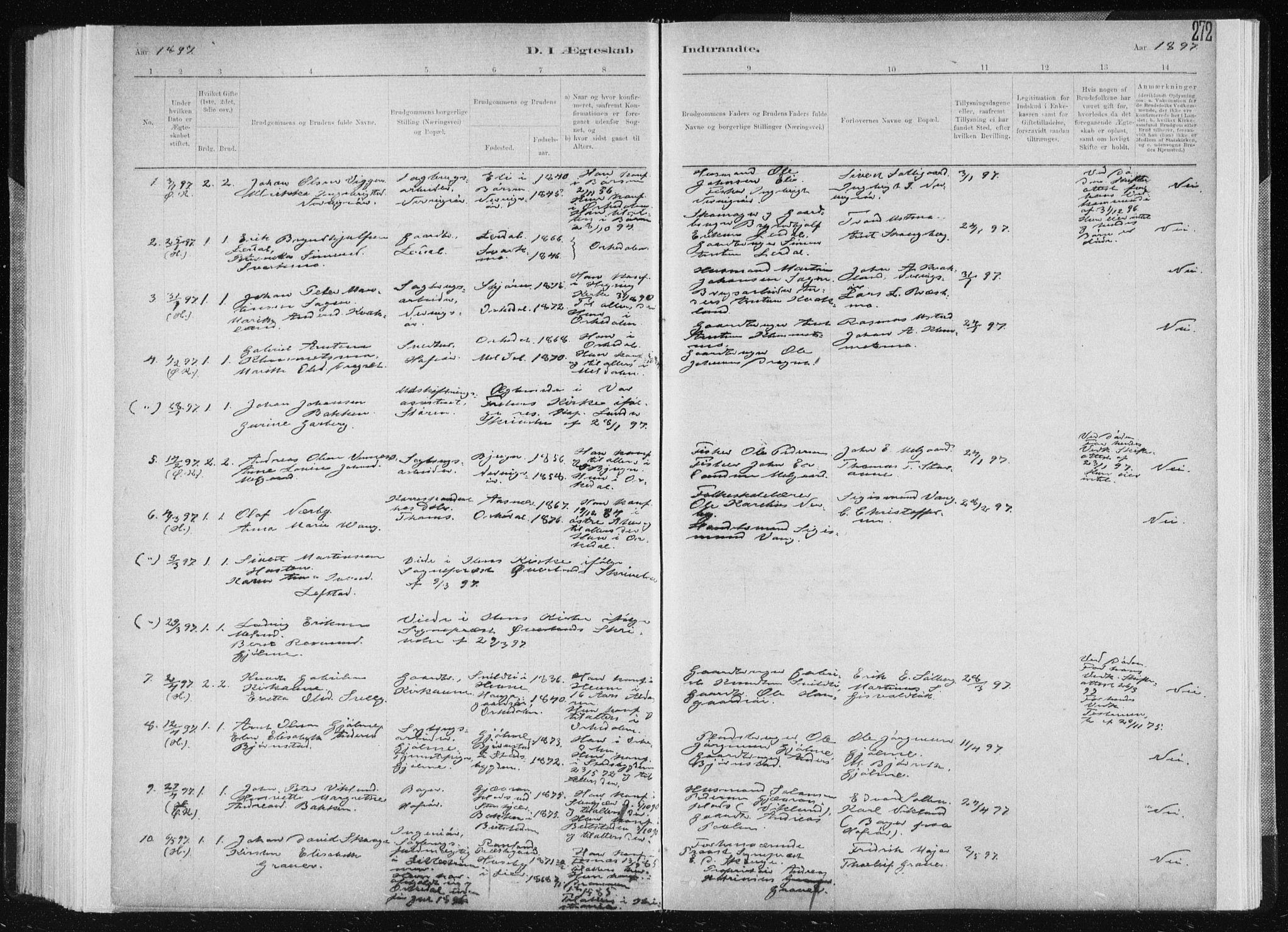 SAT, Ministerialprotokoller, klokkerbøker og fødselsregistre - Sør-Trøndelag, 668/L0818: Klokkerbok nr. 668C07, 1885-1898, s. 272
