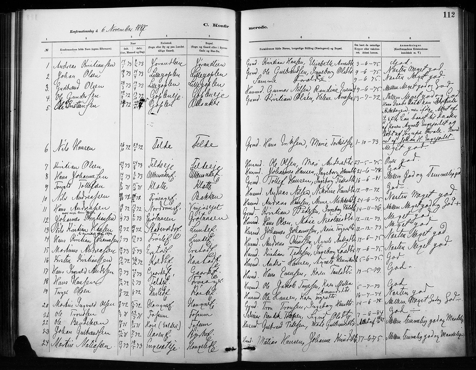 SAH, Nordre Land prestekontor, Ministerialbok nr. 4, 1882-1896, s. 112