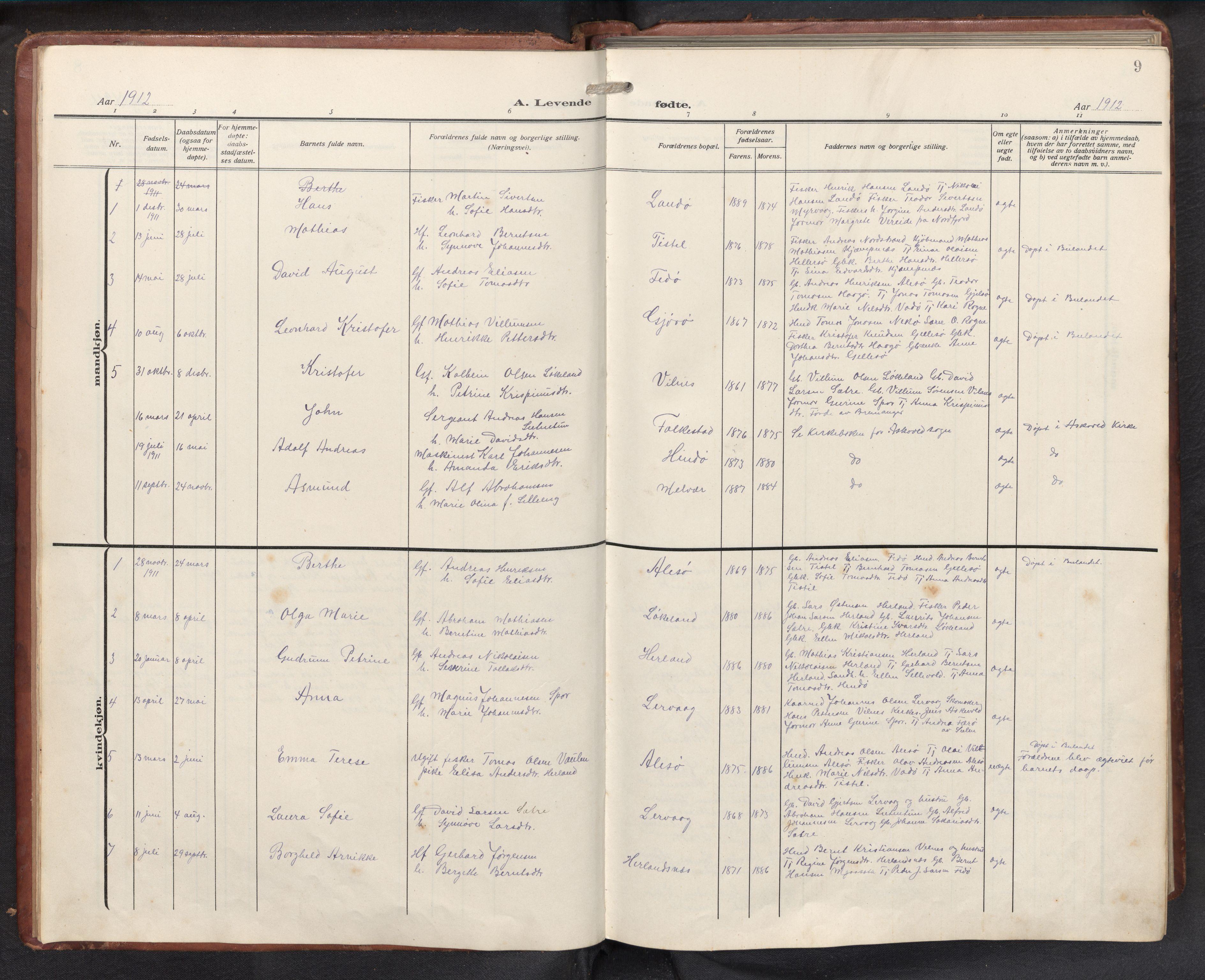 SAB, Askvoll sokneprestembete, H/Hab/Habb/L0002: Klokkerbok nr. B 2, 1910-1947, s. 8b-9a