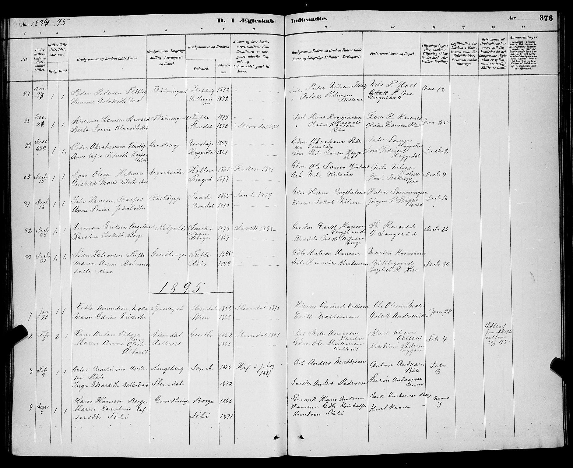 SAKO, Gjerpen kirkebøker, G/Ga/L0002: Klokkerbok nr. I 2, 1883-1900, s. 376