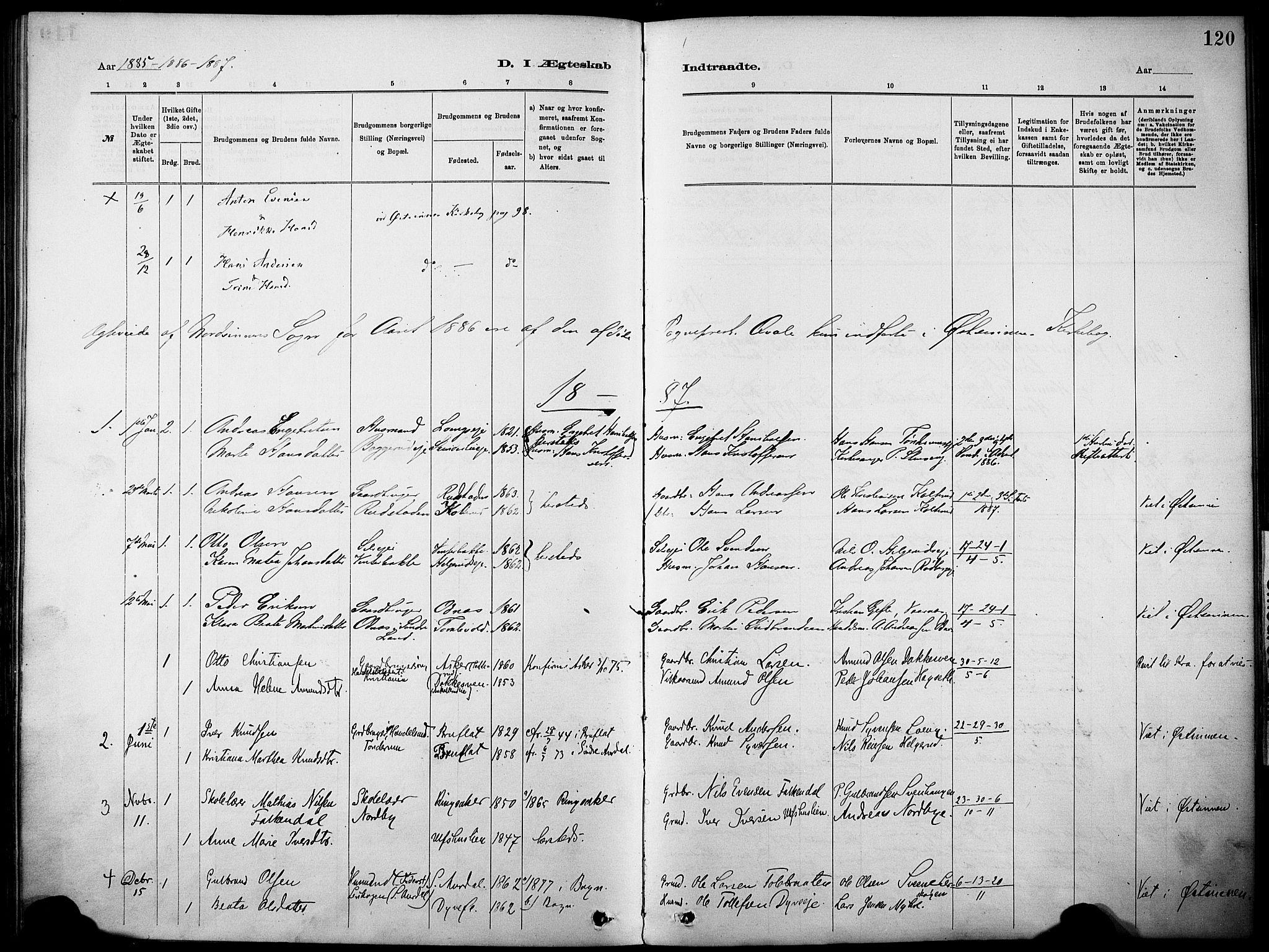 SAH, Nordre Land prestekontor, Ministerialbok nr. 5, 1882-1903, s. 120