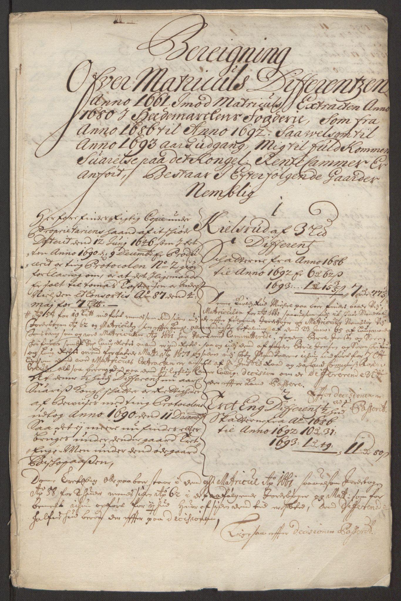 RA, Rentekammeret inntil 1814, Reviderte regnskaper, Fogderegnskap, R16/L1034: Fogderegnskap Hedmark, 1693, s. 276