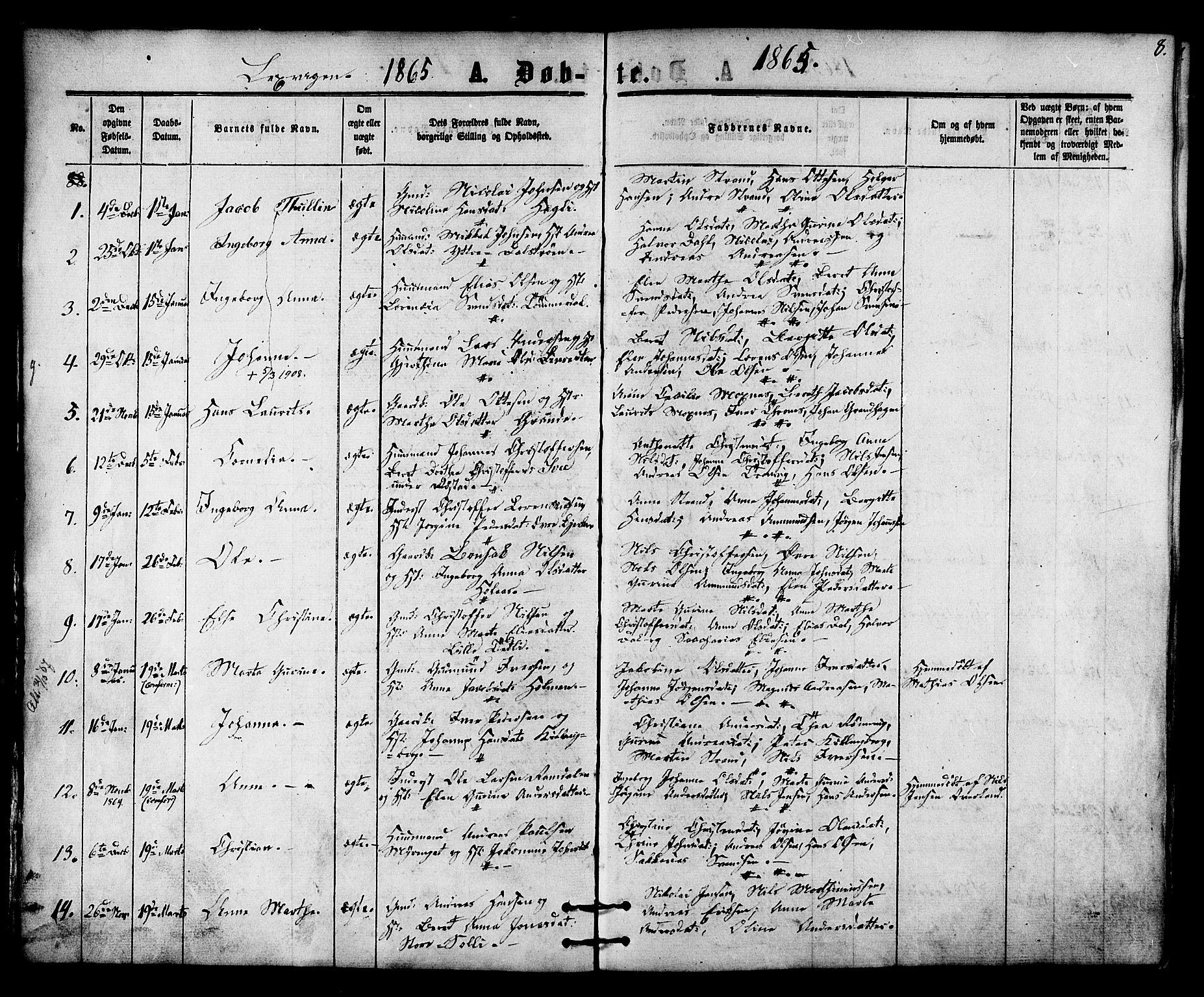 SAT, Ministerialprotokoller, klokkerbøker og fødselsregistre - Nord-Trøndelag, 701/L0009: Ministerialbok nr. 701A09 /1, 1864-1882, s. 8