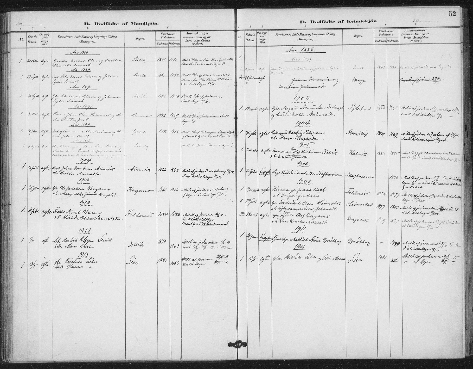 SAT, Ministerialprotokoller, klokkerbøker og fødselsregistre - Nord-Trøndelag, 783/L0660: Ministerialbok nr. 783A02, 1886-1918, s. 52