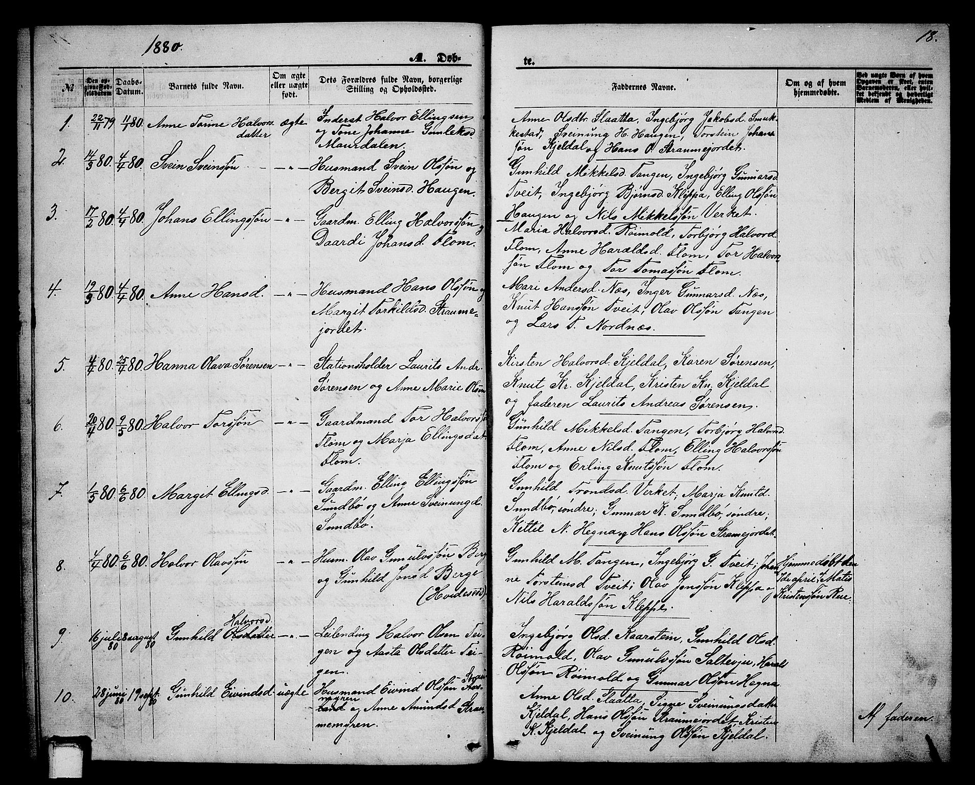 SAKO, Lunde kirkebøker, G/Gb/L0001: Klokkerbok nr. II 1, 1866-1887, s. 18