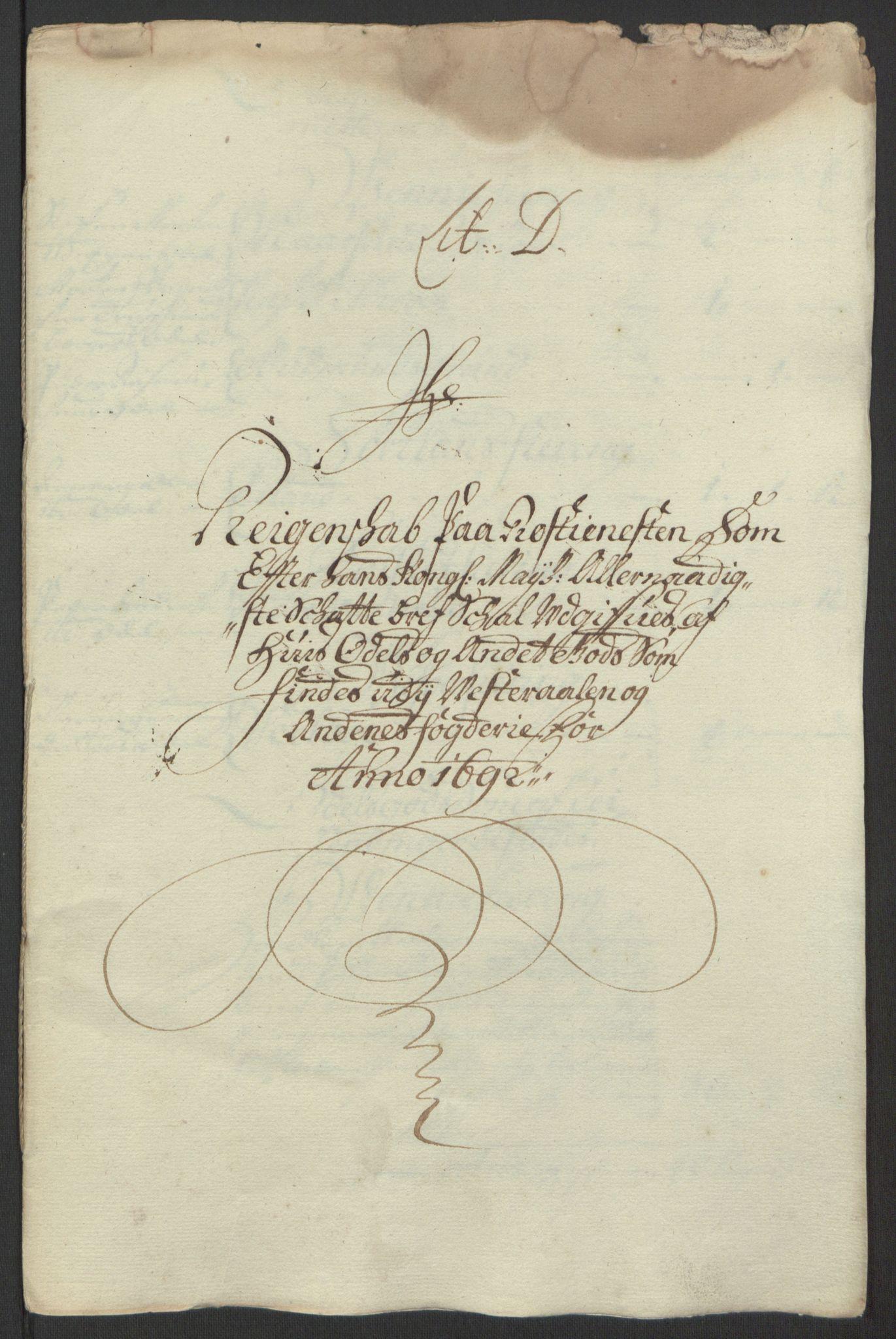 RA, Rentekammeret inntil 1814, Reviderte regnskaper, Fogderegnskap, R67/L4676: Fogderegnskap Vesterålen, Andenes og Lofoten, 1691-1693, s. 114