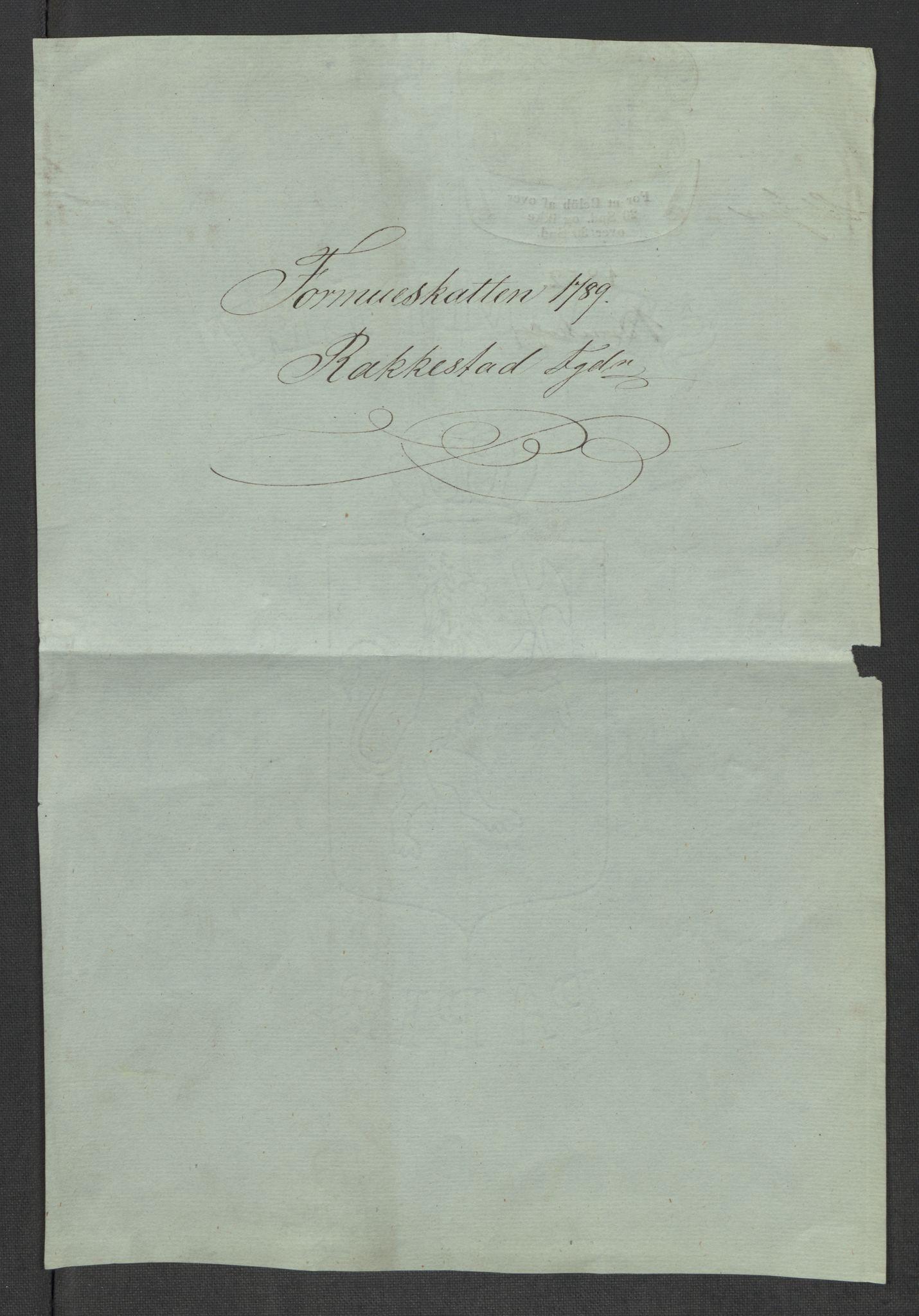 RA, Rentekammeret inntil 1814, Reviderte regnskaper, Mindre regnskaper, Rf/Rfe/L0035: Rakkestad, Heggen og Frøland fogderi, 1789, s. 3